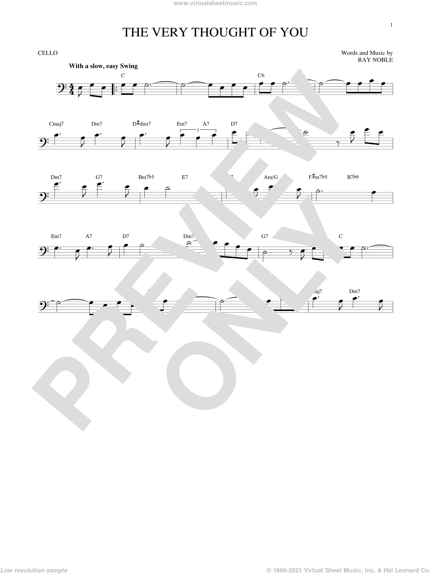 The Very Thought Of You sheet music for cello solo by Ray Noble, intermediate skill level
