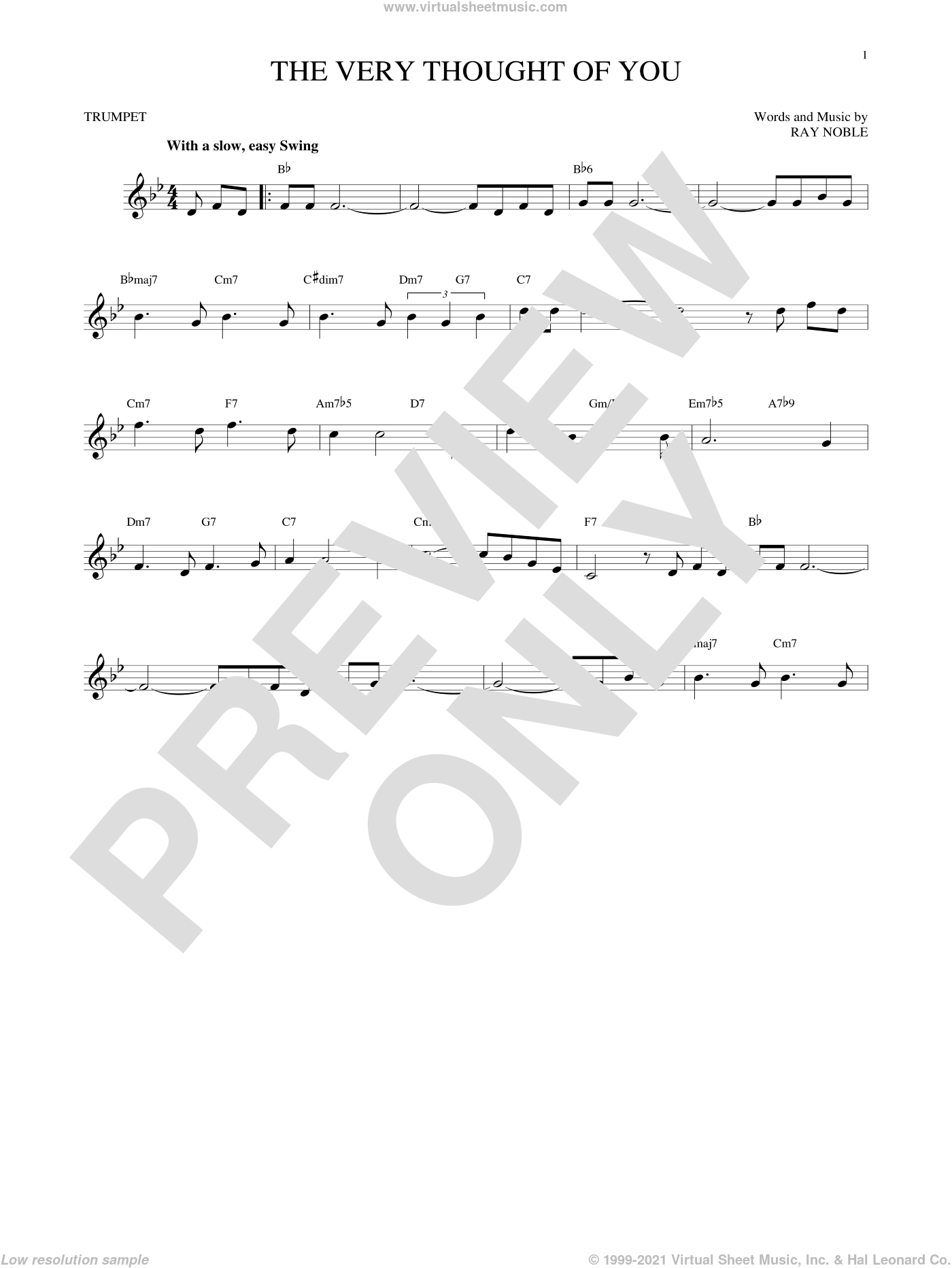 The Very Thought Of You sheet music for trumpet solo by Ray Noble, intermediate skill level