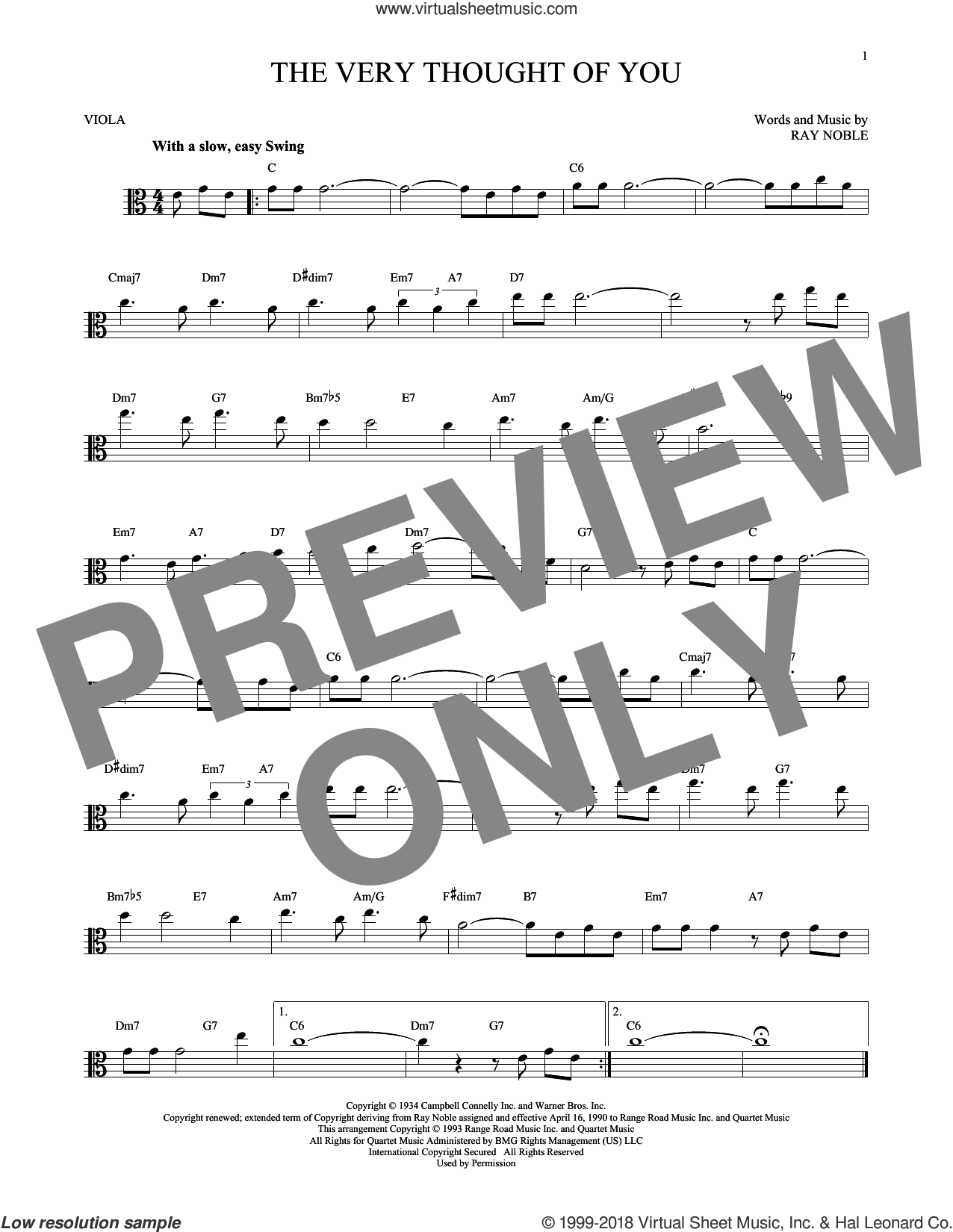 The Very Thought Of You sheet music for viola solo by Ray Noble, intermediate skill level