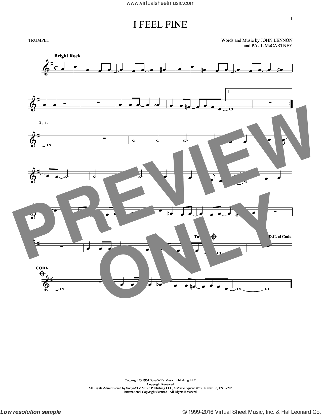 I Feel Fine sheet music for trumpet solo by The Beatles, John Lennon and Paul McCartney, intermediate. Score Image Preview.