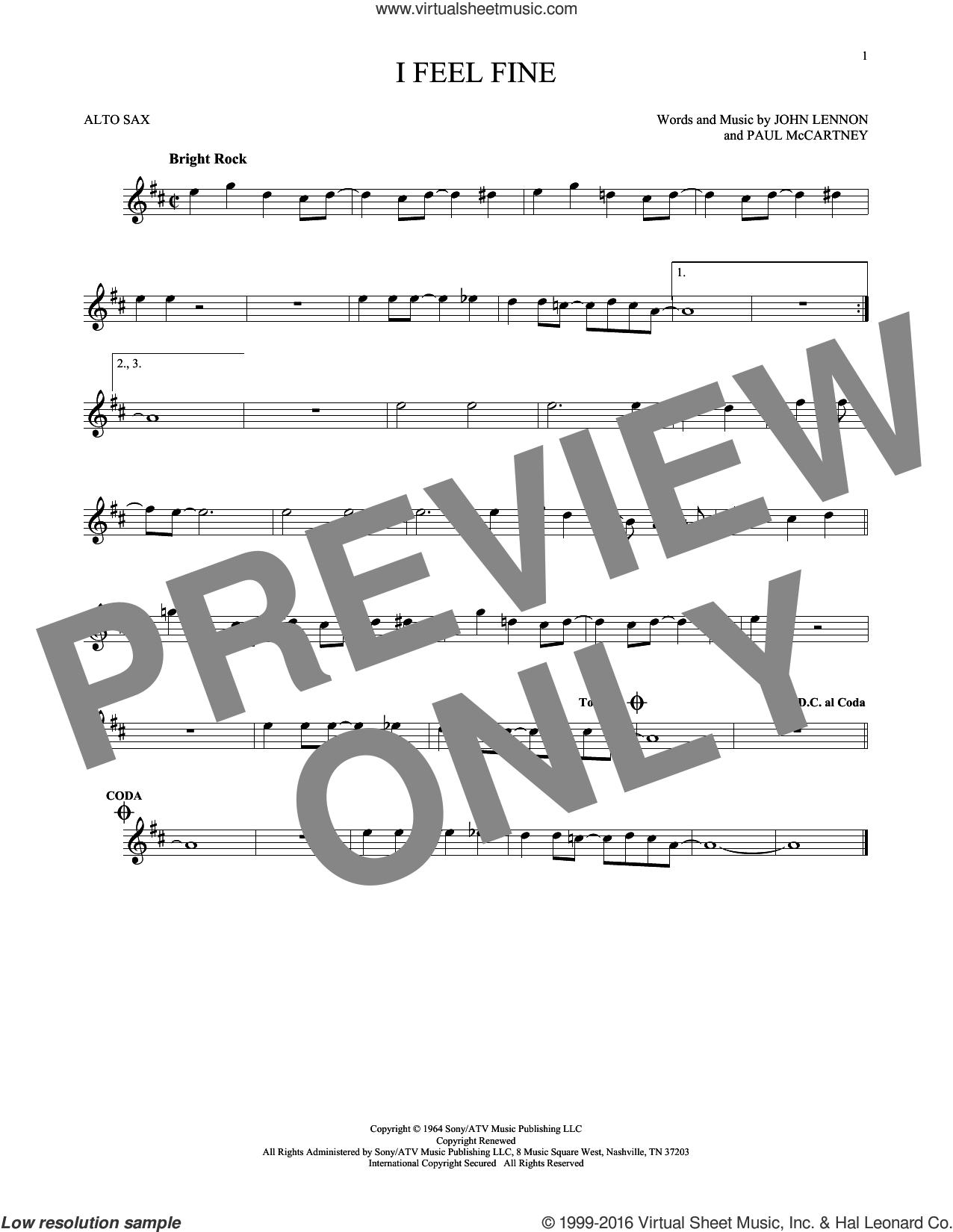 I Feel Fine sheet music for alto saxophone solo by The Beatles, John Lennon and Paul McCartney, intermediate skill level