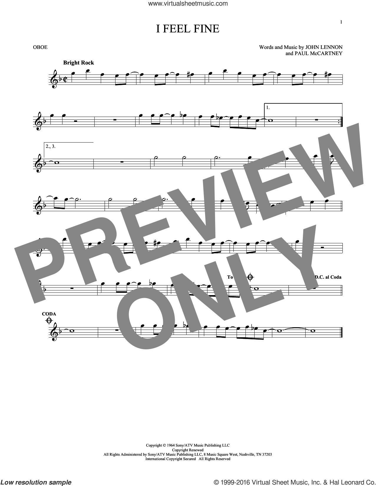 I Feel Fine sheet music for oboe solo by The Beatles, John Lennon and Paul McCartney, intermediate skill level