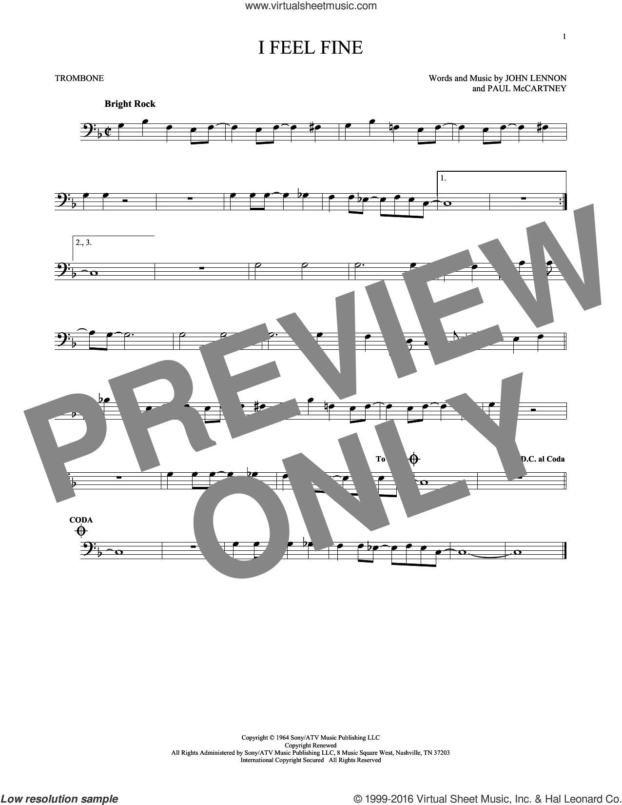 I Feel Fine sheet music for trombone solo by The Beatles, John Lennon and Paul McCartney, intermediate