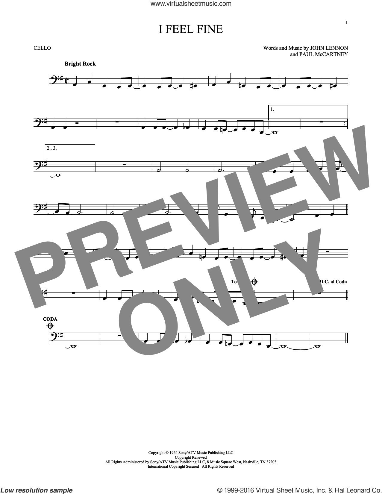I Feel Fine sheet music for cello solo by The Beatles, John Lennon and Paul McCartney. Score Image Preview.