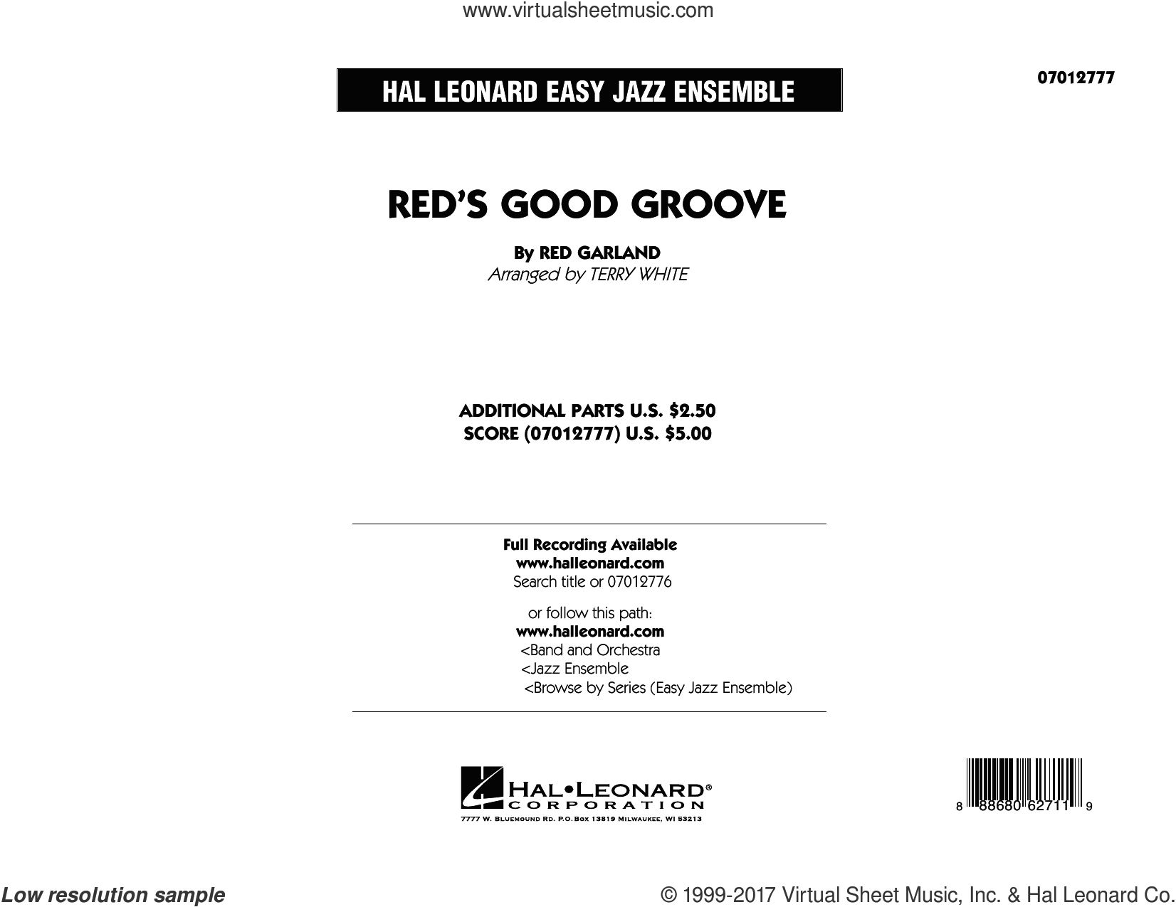 Red's Good Groove (COMPLETE) sheet music for jazz band by Terry White, intermediate jazz band. Score Image Preview.