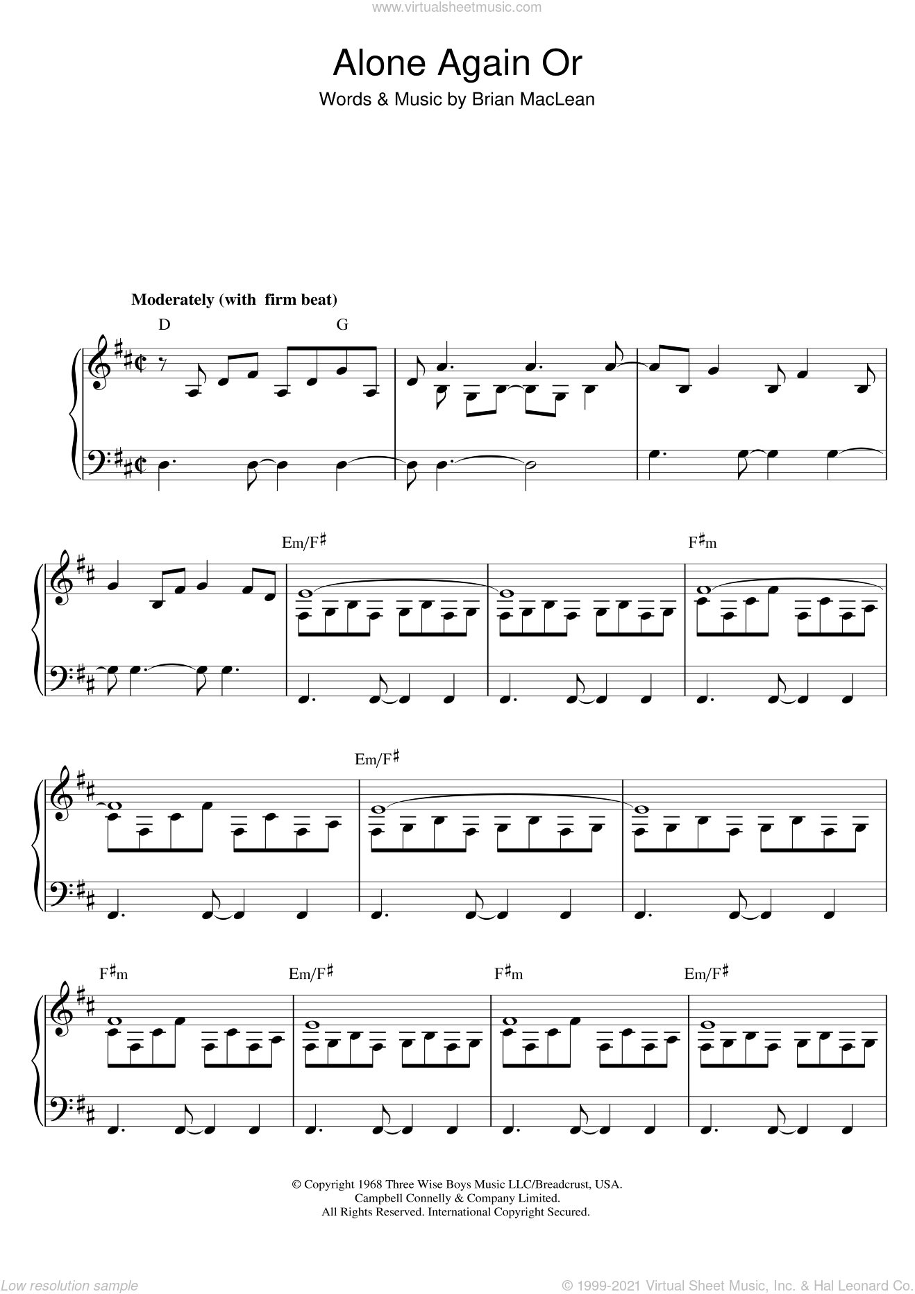 Alone Again Or sheet music for voice and piano by Love, intermediate voice. Score Image Preview.