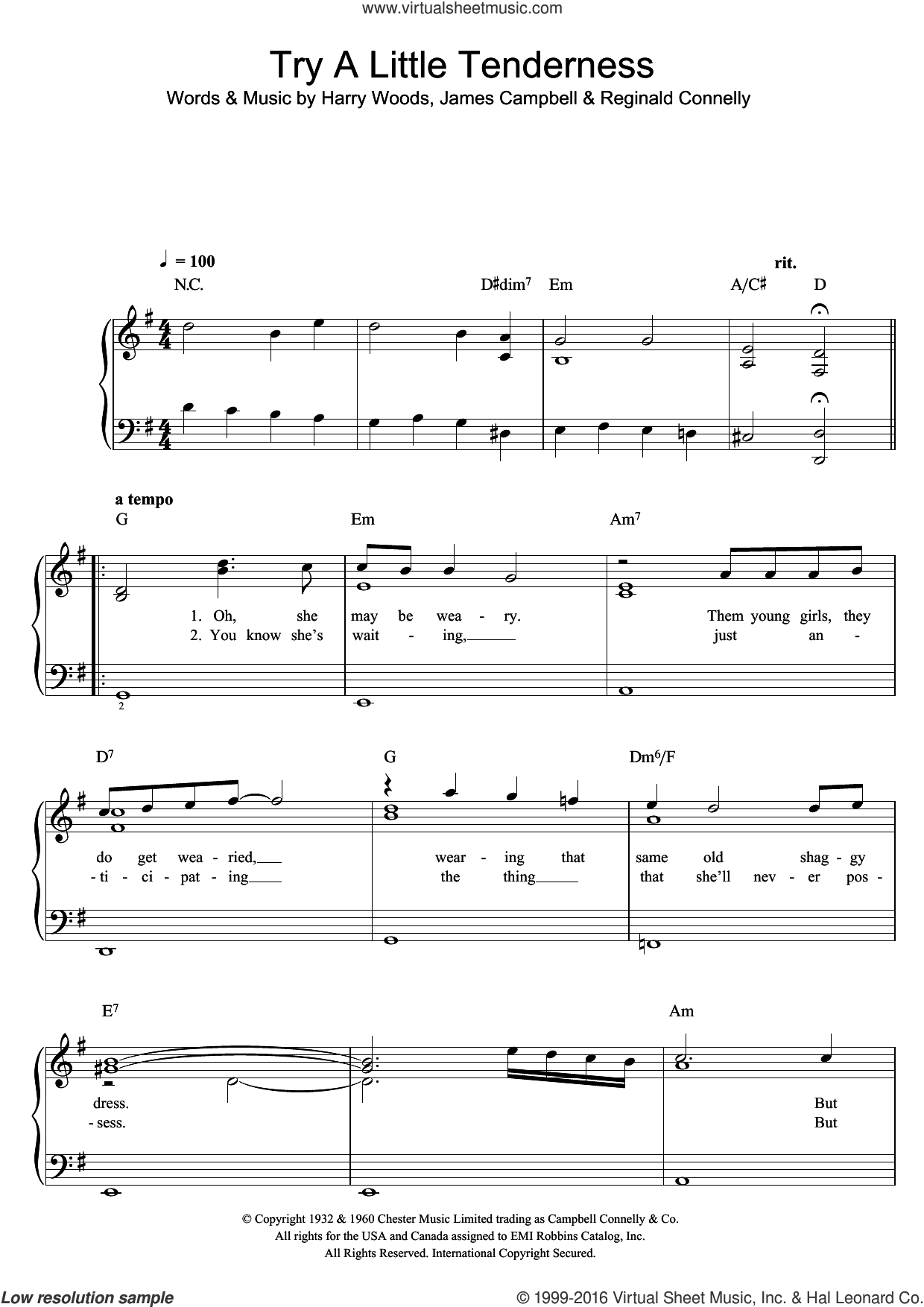 Try A Little Tenderness sheet music for voice and piano by Otis Redding, The Commitments, Harry Woods, James Campbell and Reg Connelly, intermediate skill level