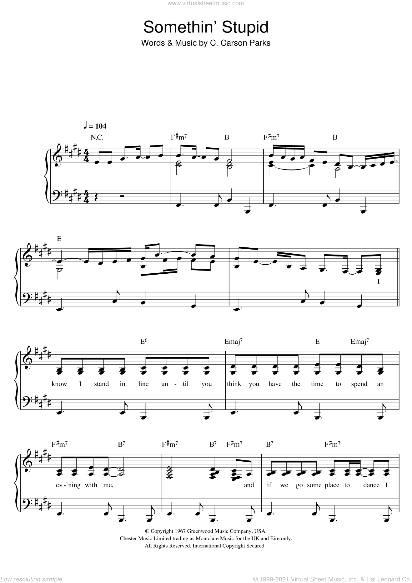 Somethin' Stupid sheet music for voice and piano by Frank Sinatra, Nancy Sinatra, Nicole Kidman, Robbie Williams and C. Carson Parks, intermediate skill level