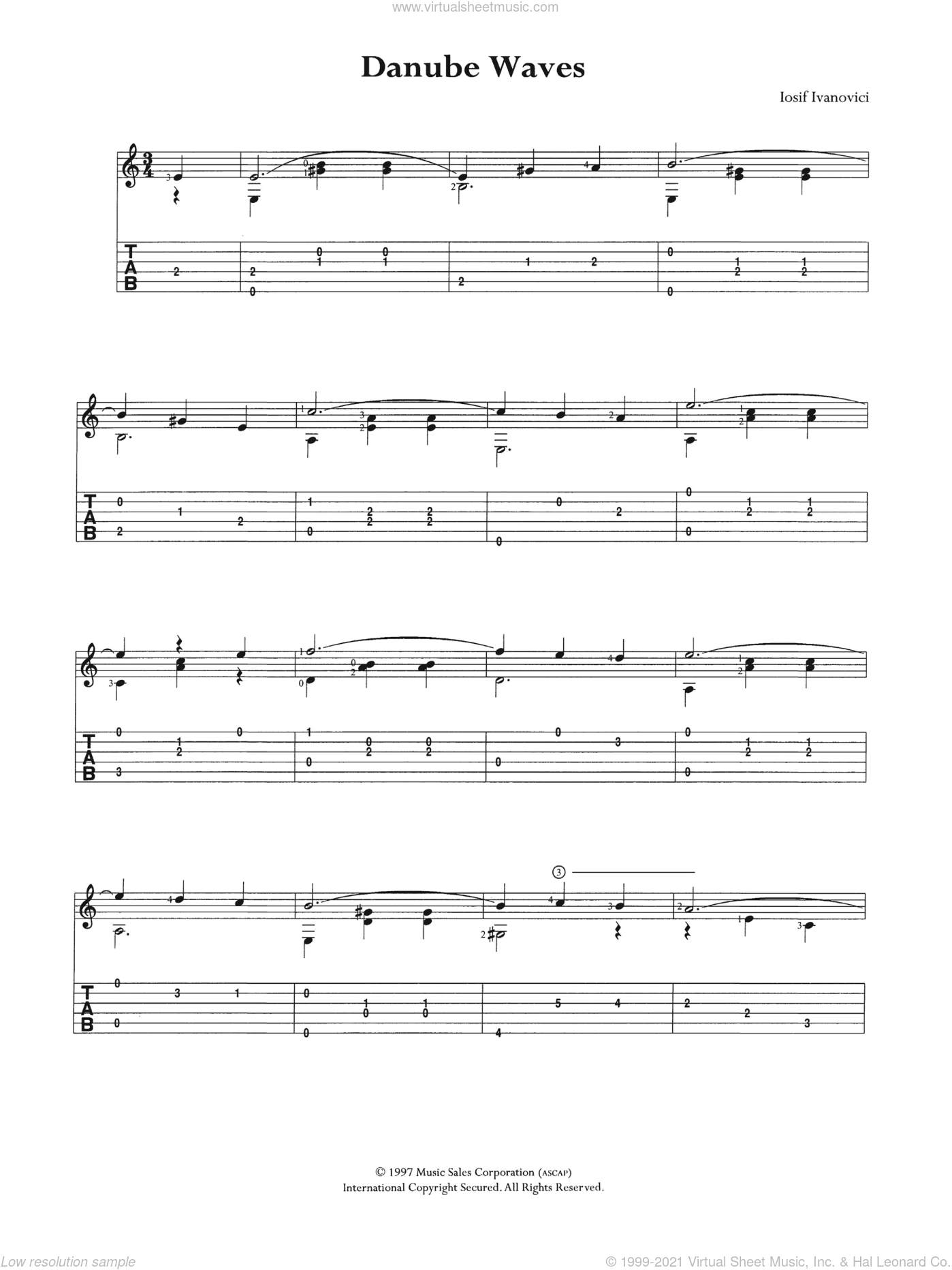 Danube Waves sheet music for guitar (tablature) by Iosif Ivanovici, classical score, intermediate. Score Image Preview.