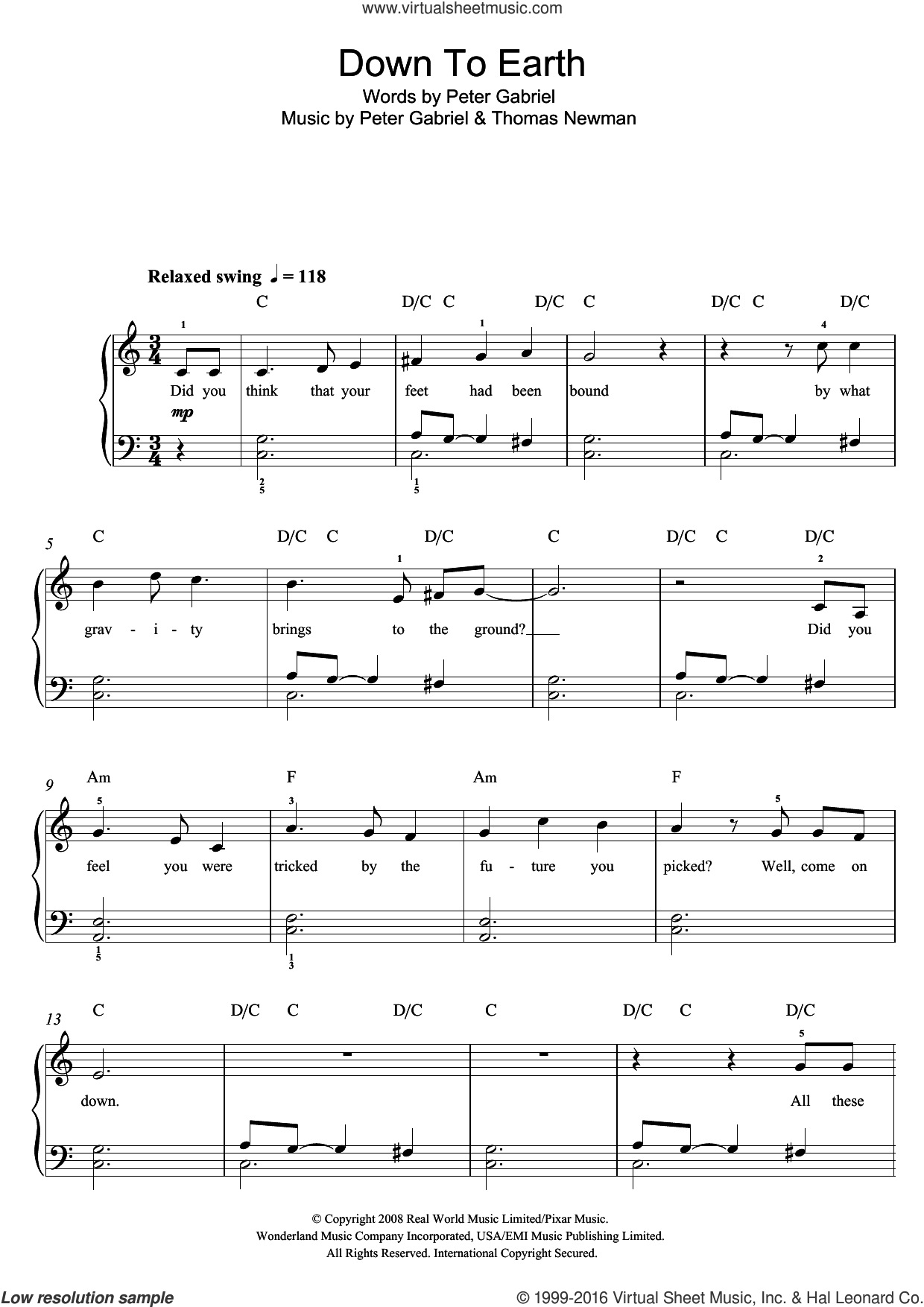 Down To Earth (from 'WALLaA�A�E') sheet music for voice, piano or guitar by Thomas Newman and Peter Gabriel. Score Image Preview.
