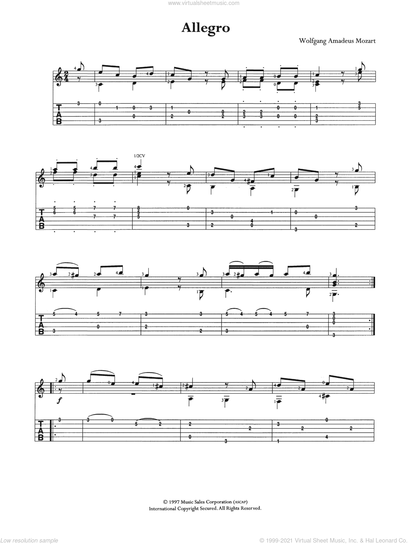 Allegro K3 sheet music for guitar (tablature) by Wolfgang Amadeus Mozart, classical score, intermediate guitar (tablature). Score Image Preview.