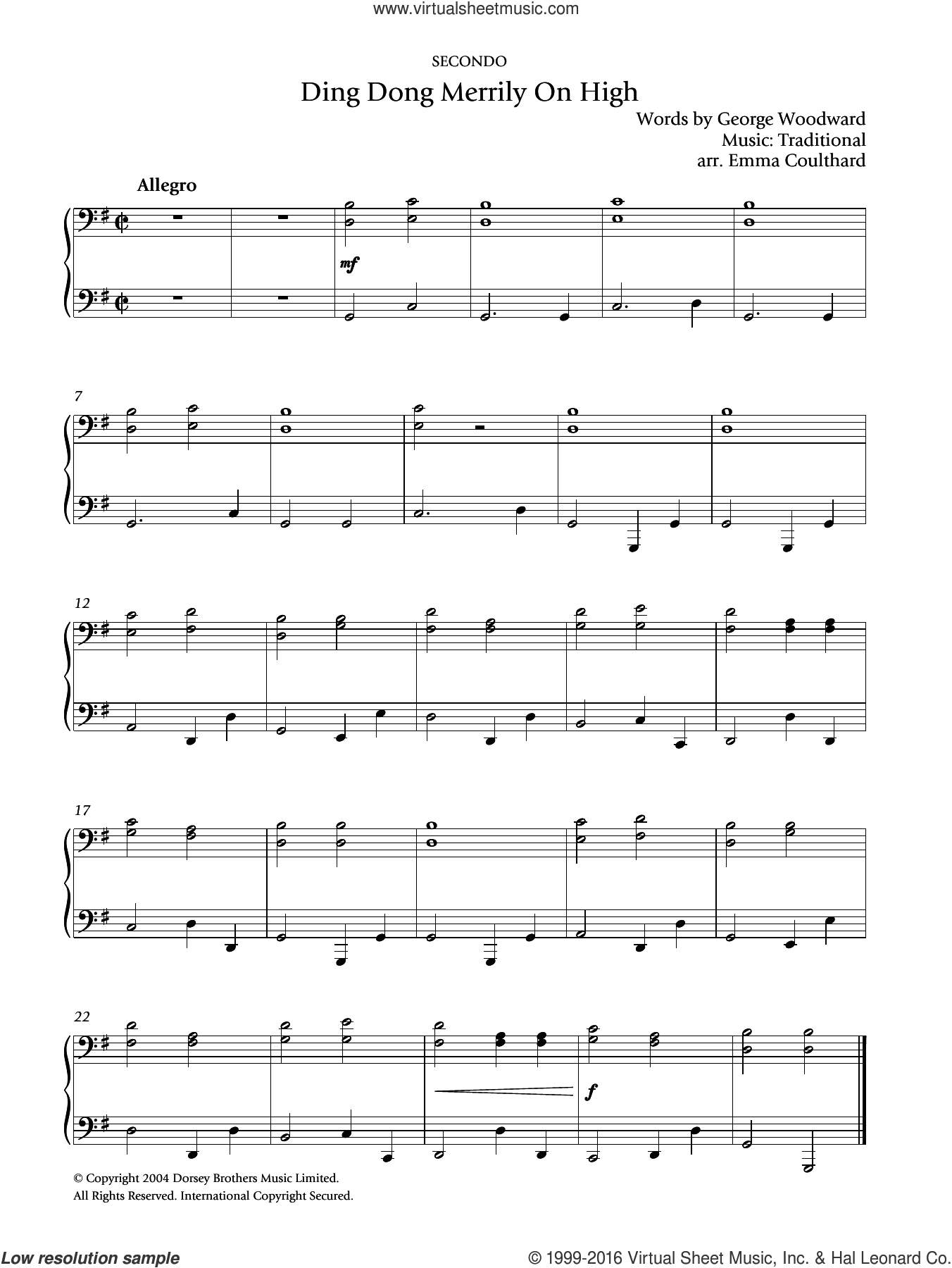 Ding Dong! Merrily On High sheet music for piano solo by George Woodward