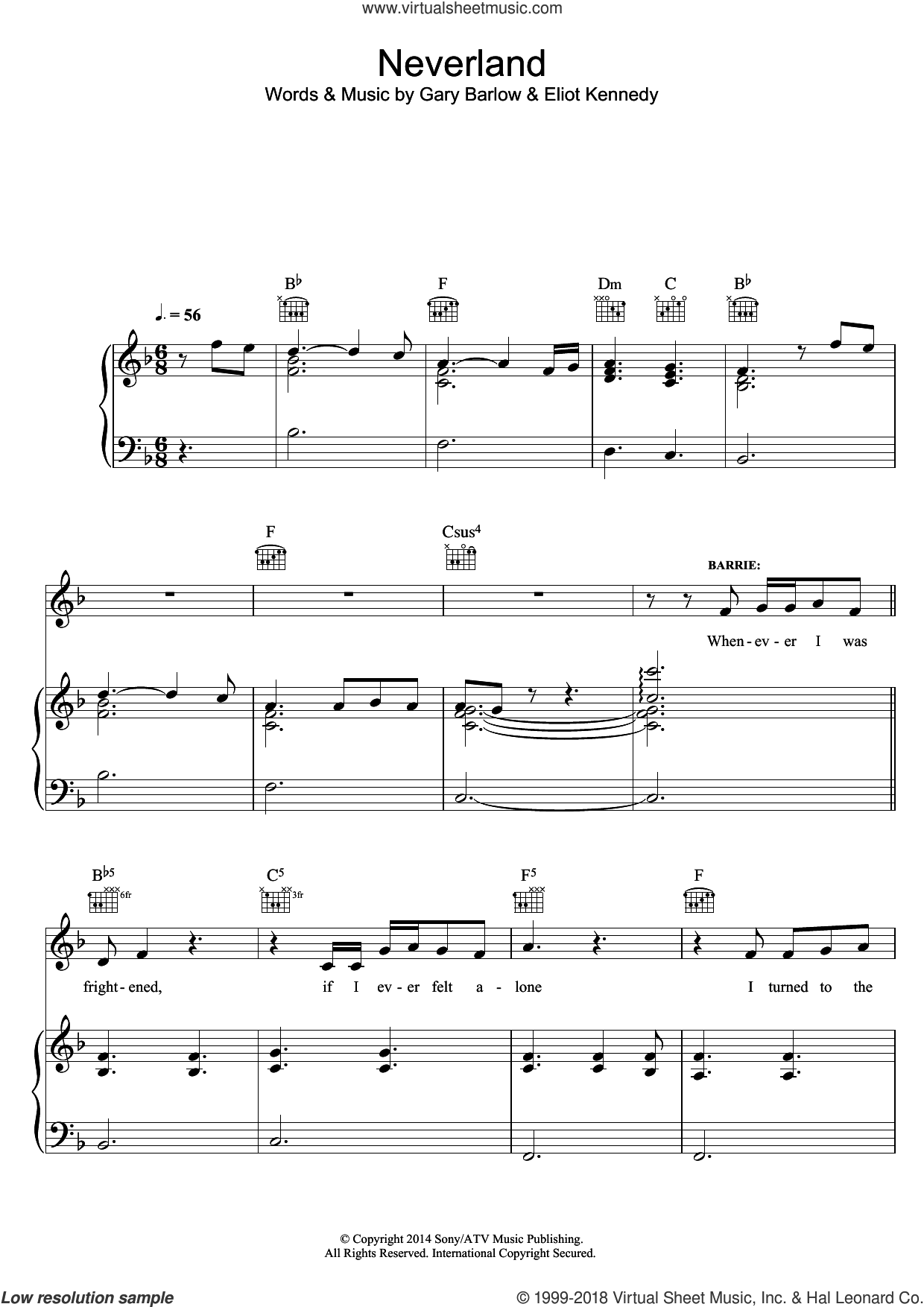 Neverland (from 'Finding Neverland') sheet music for voice, piano or guitar by Eliot Kennedy and Gary Barlow, intermediate skill level
