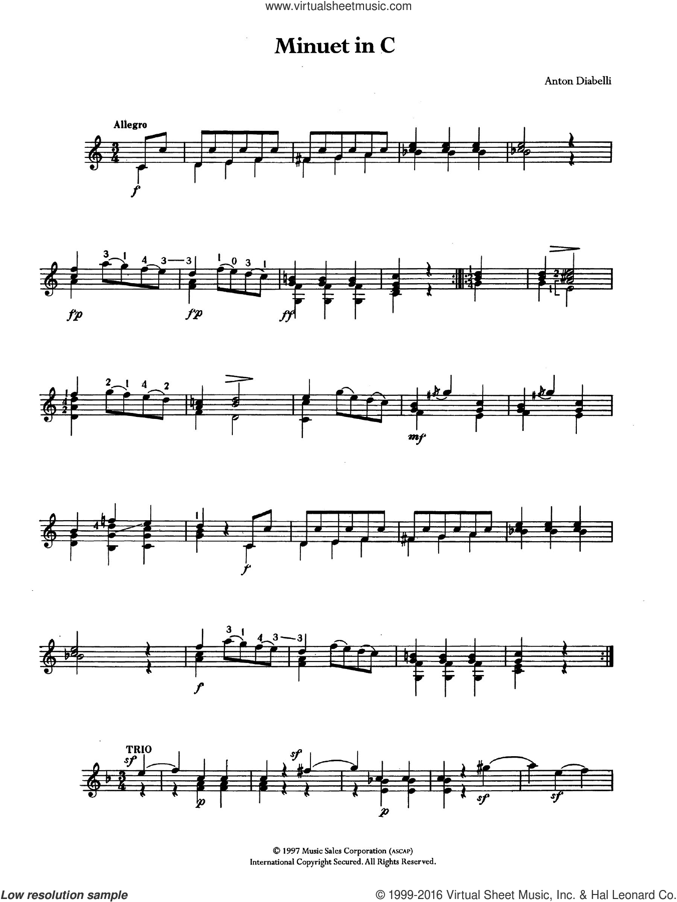 Minuet In C sheet music for guitar solo (chords) by Antonio Diabelli, classical score, easy guitar (chords). Score Image Preview.