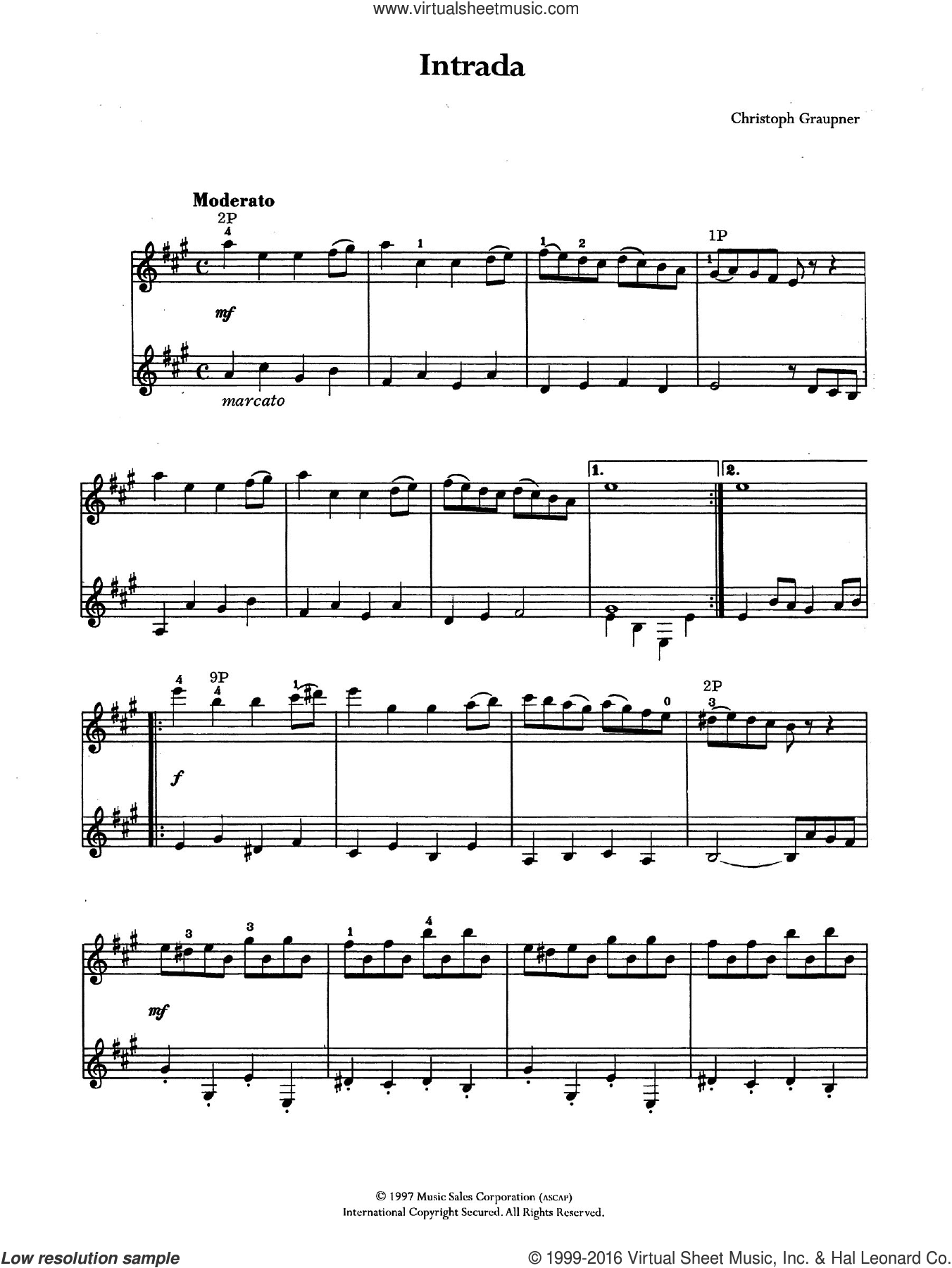 Intrada sheet music for guitar solo (chords) by Christoph Graupner. Score Image Preview.