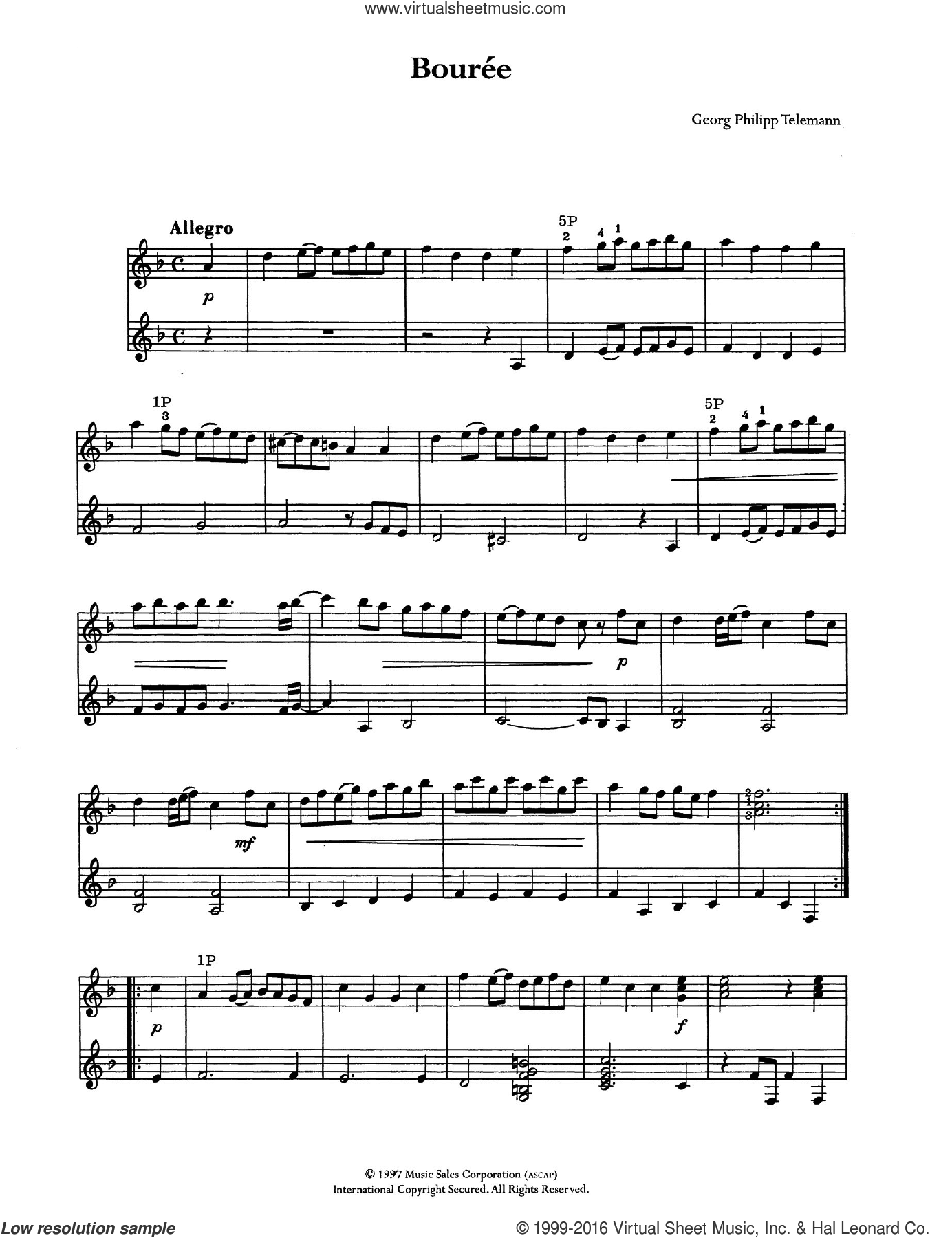 Bouree sheet music for guitar solo (chords) by Georg Philipp Telemann. Score Image Preview.
