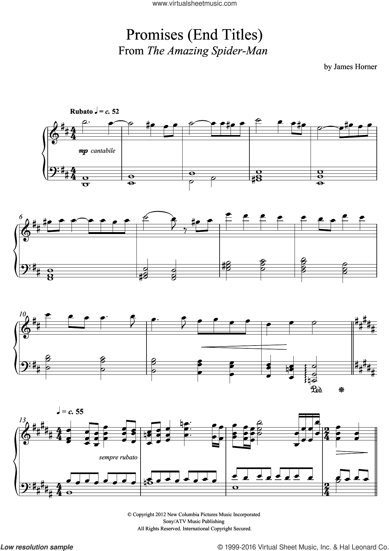 Promises (From 'The Amazing Spider-Man' End Titles) sheet music for piano solo by James Horner, intermediate skill level