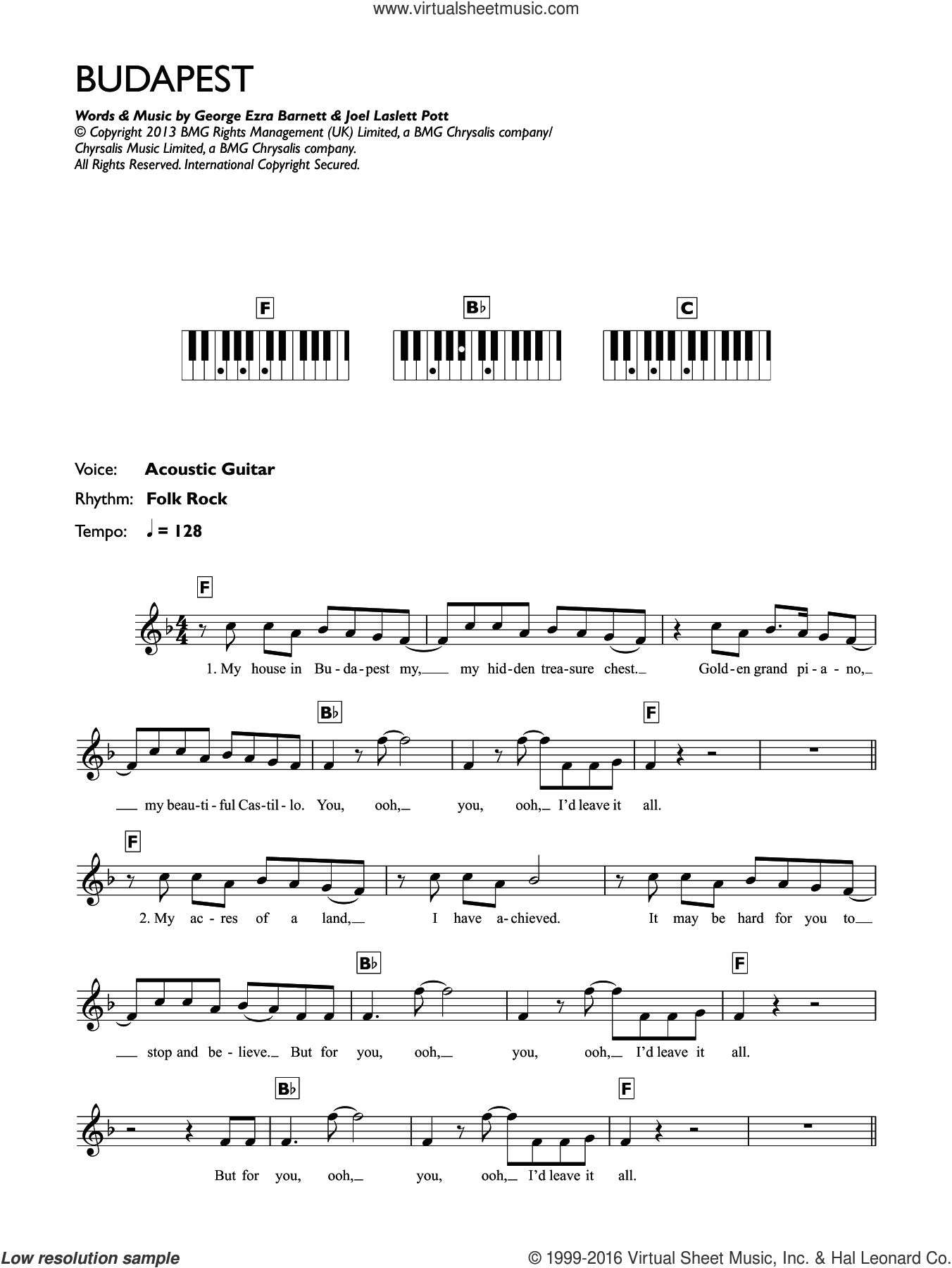 Budapest sheet music for piano solo (chords, lyrics, melody) by George Ezra, intermediate piano (chords, lyrics, melody). Score Image Preview.
