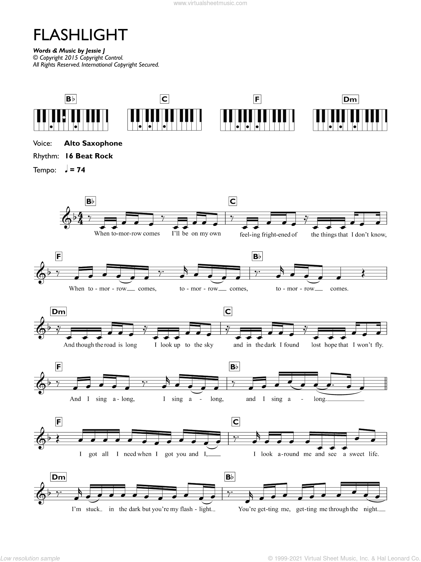 Flashlight sheet music for piano solo (chords, lyrics, melody) by Sia Furler, Jessie J and Sam Smith. Score Image Preview.
