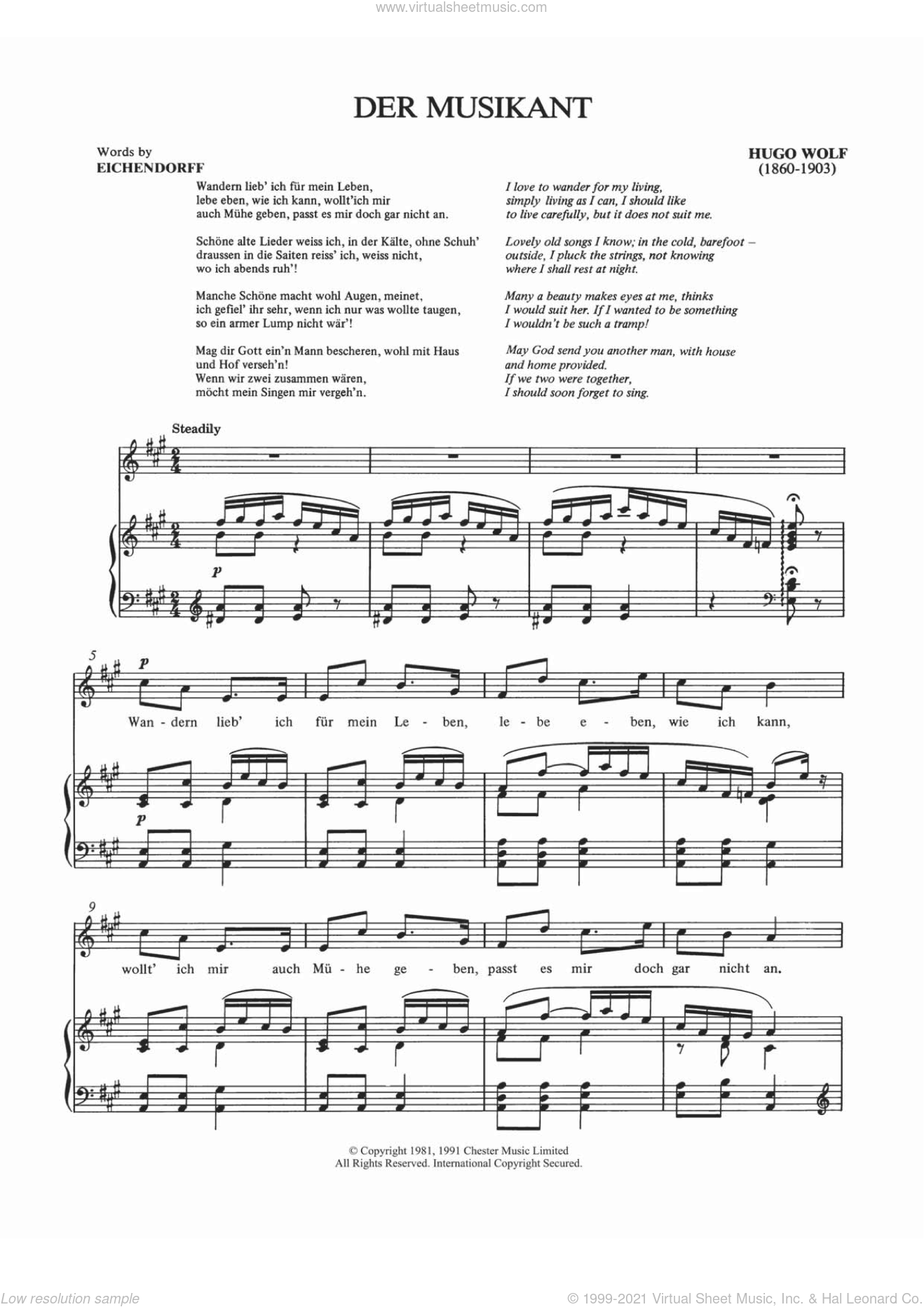 Der Musikant sheet music for voice and piano by Hugo Wolf, Shirley Leah and Josef Karl Benedikt Eichendorff von, classical score, intermediate. Score Image Preview.