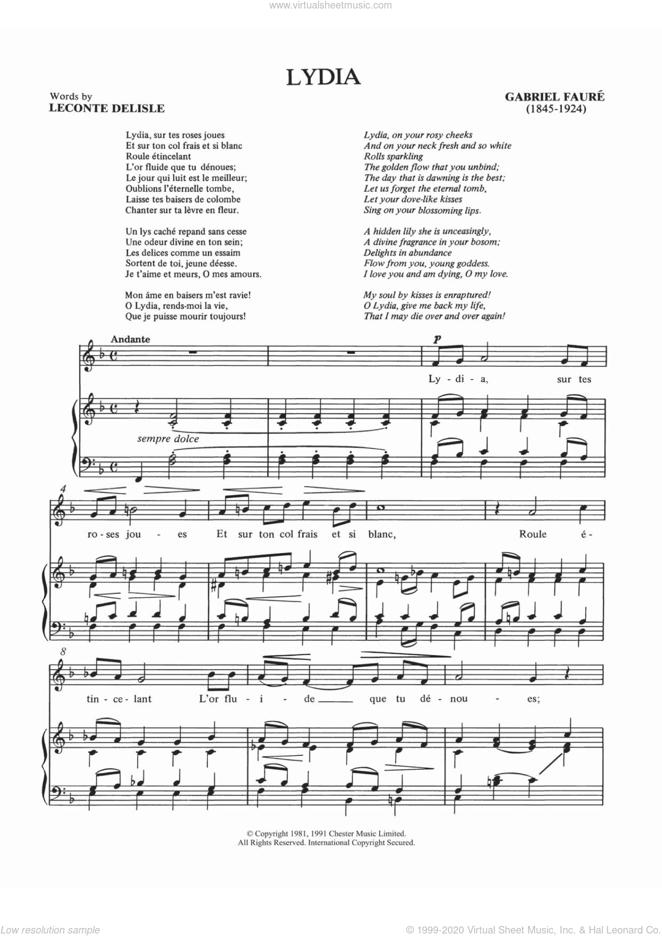 Lydia sheet music for voice and piano by Philippe Delisle and Gabriel Faure. Score Image Preview.