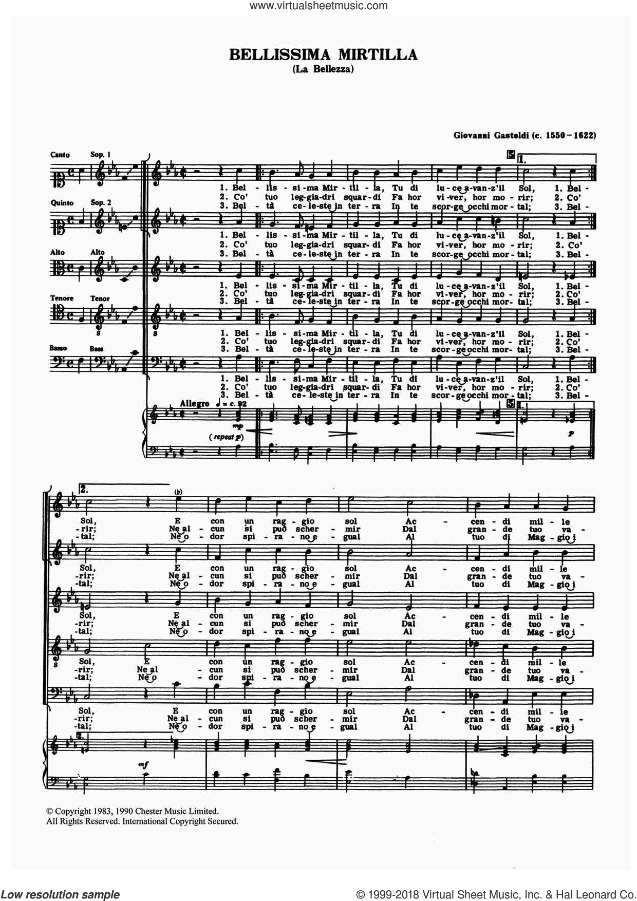 Bellissima Mirtilla sheet music for choir by Giovanni Giacomo Gastoldi, classical score, intermediate choir. Score Image Preview.