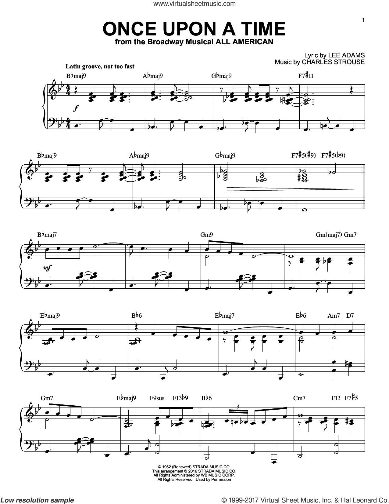 Once Upon A Time sheet music for piano solo by Charles Strouse and Lee Adams, intermediate skill level