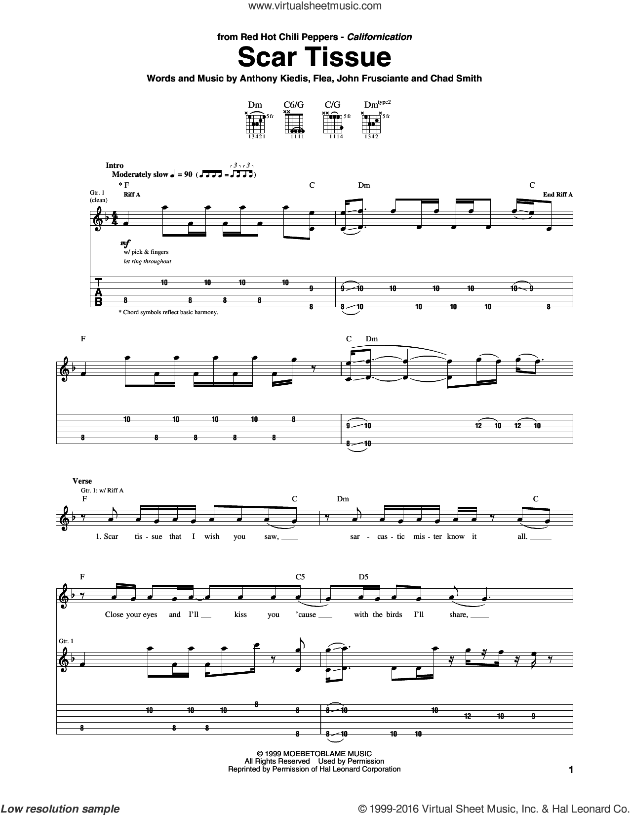Scar Tissue sheet music for guitar (tablature) by John Frusciante, Red Hot Chili Peppers and Flea. Score Image Preview.