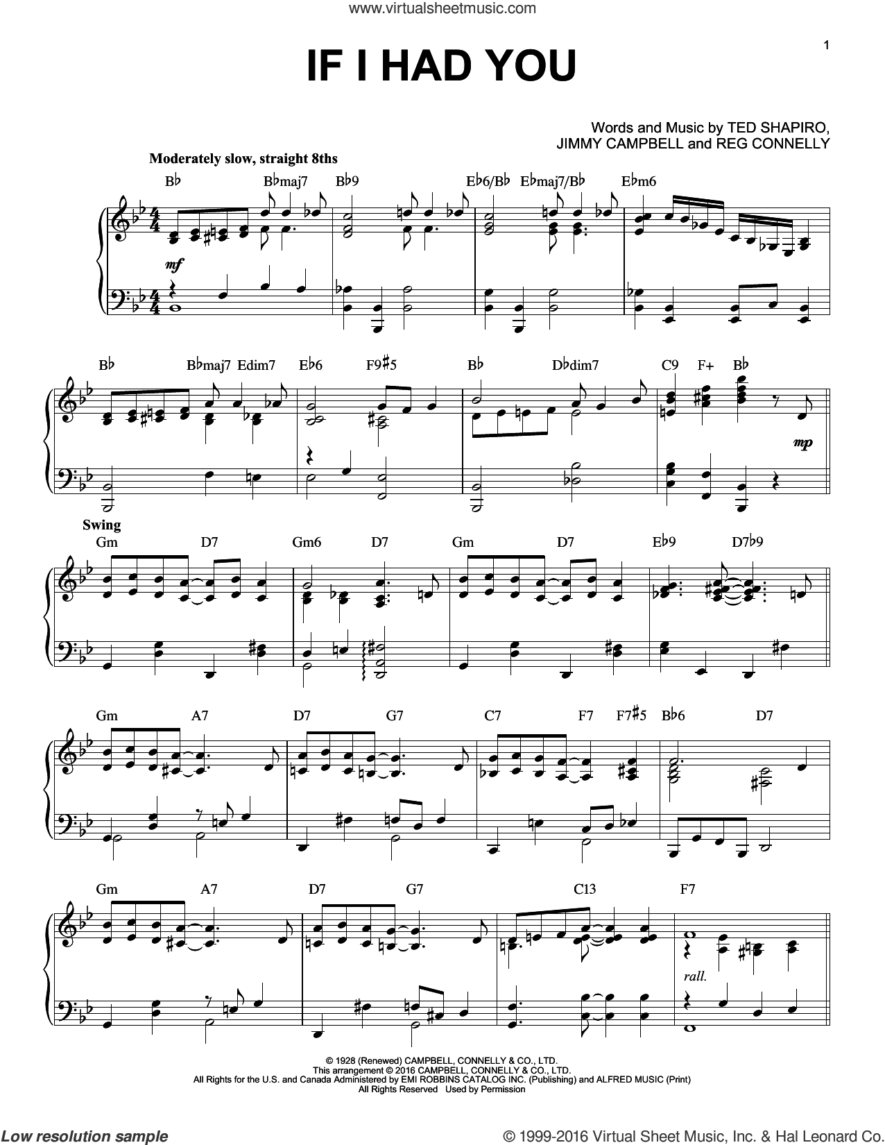 If I Had You sheet music for piano solo by Frank Sinatra, Jimmy Campbell, Reg Connelly and Ted Shapiro, intermediate skill level
