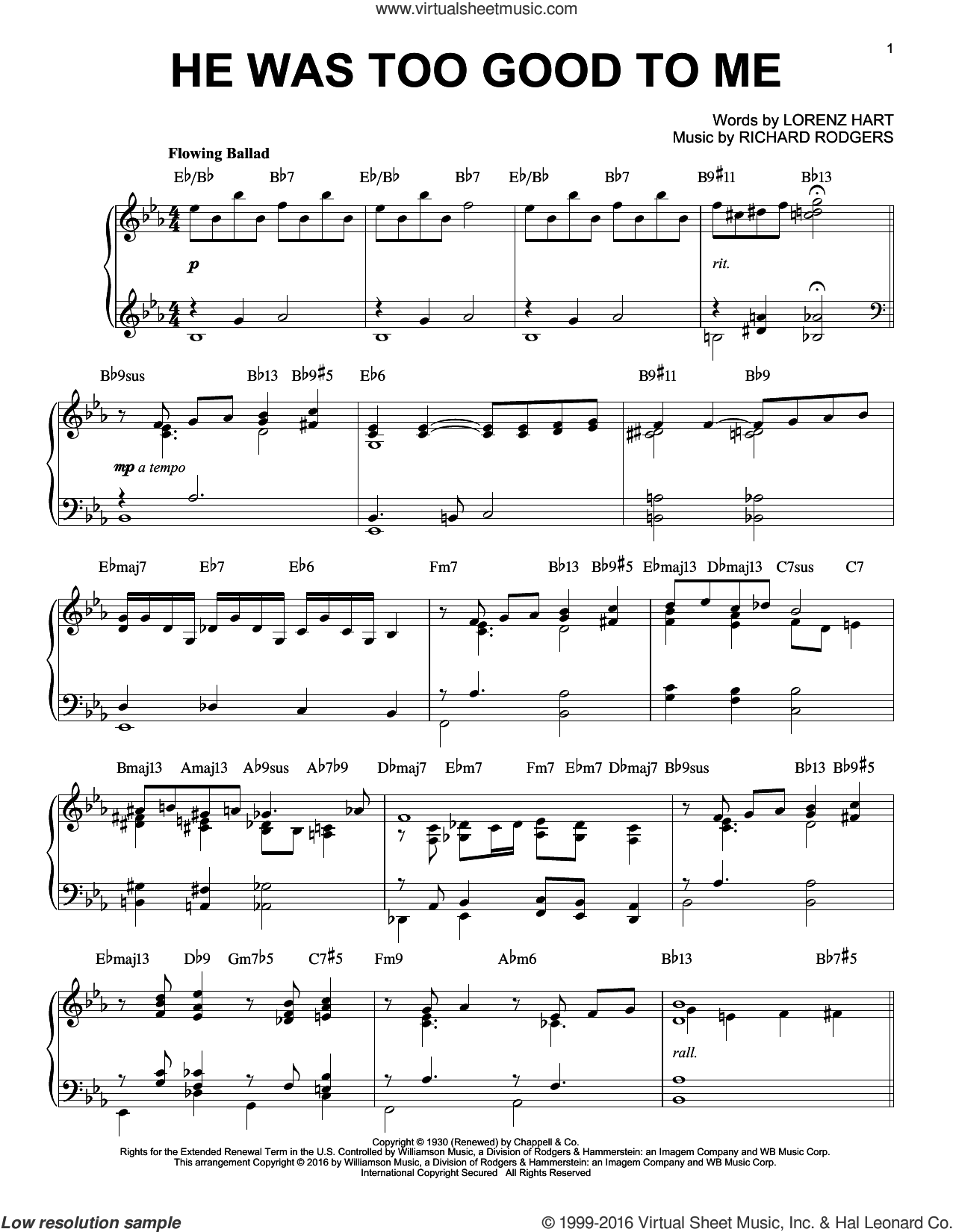 He Was Too Good To Me [Jazz version] (arr. Brent Edstrom) sheet music for piano solo by Rodgers & Hart, Lorenz Hart and Richard Rodgers, intermediate skill level