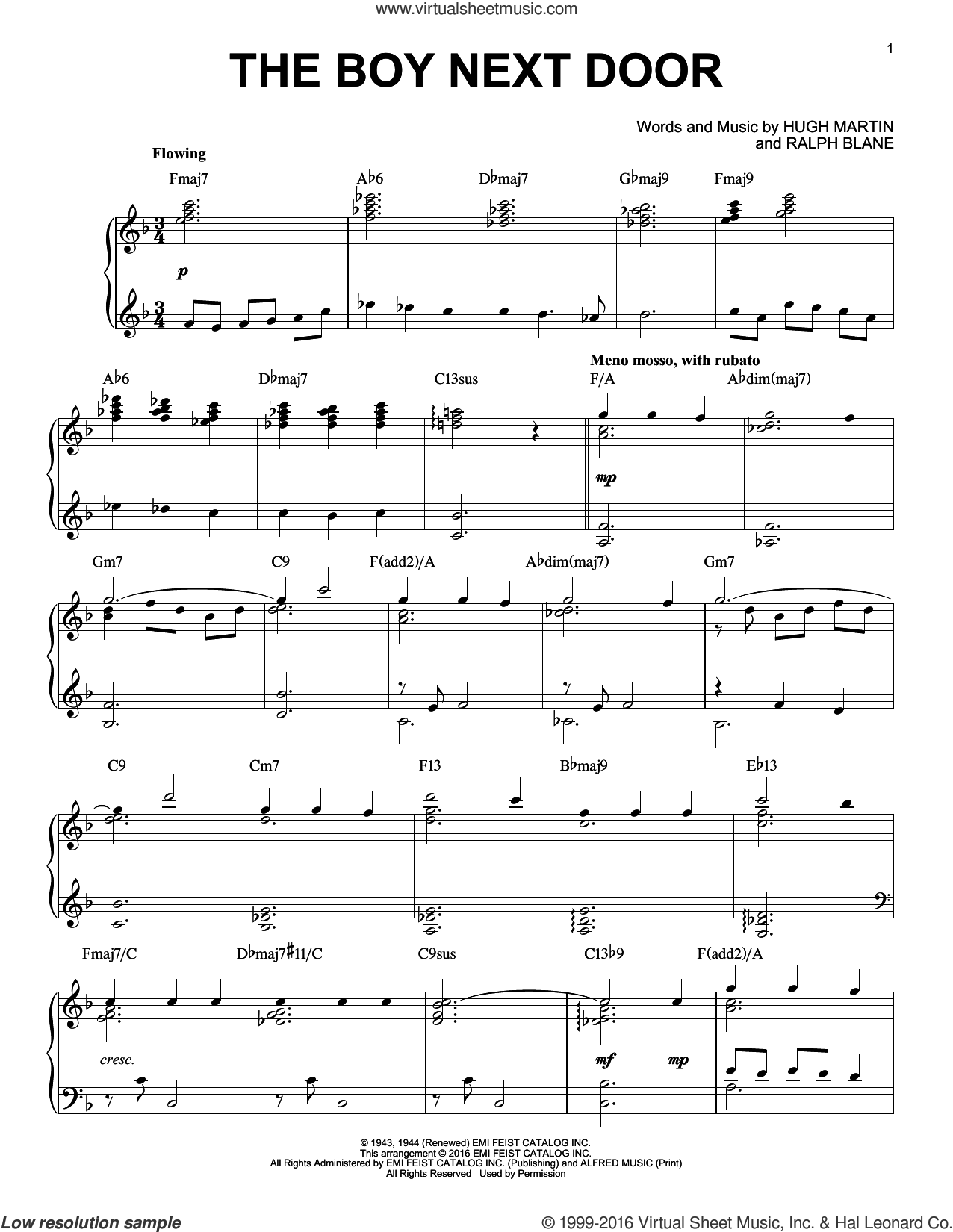 The Boy Next Door sheet music for piano solo by Hugh Martin, Secrets and Ralph Blane, intermediate skill level