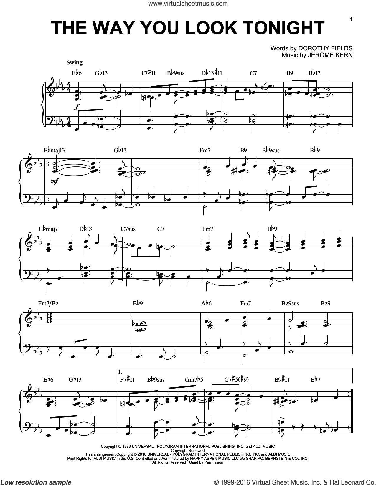 The Way You Look Tonight [Jazz version] (arr. Brent Edstrom) sheet music for piano solo by Jerome Kern and Dorothy Fields, wedding score, intermediate skill level