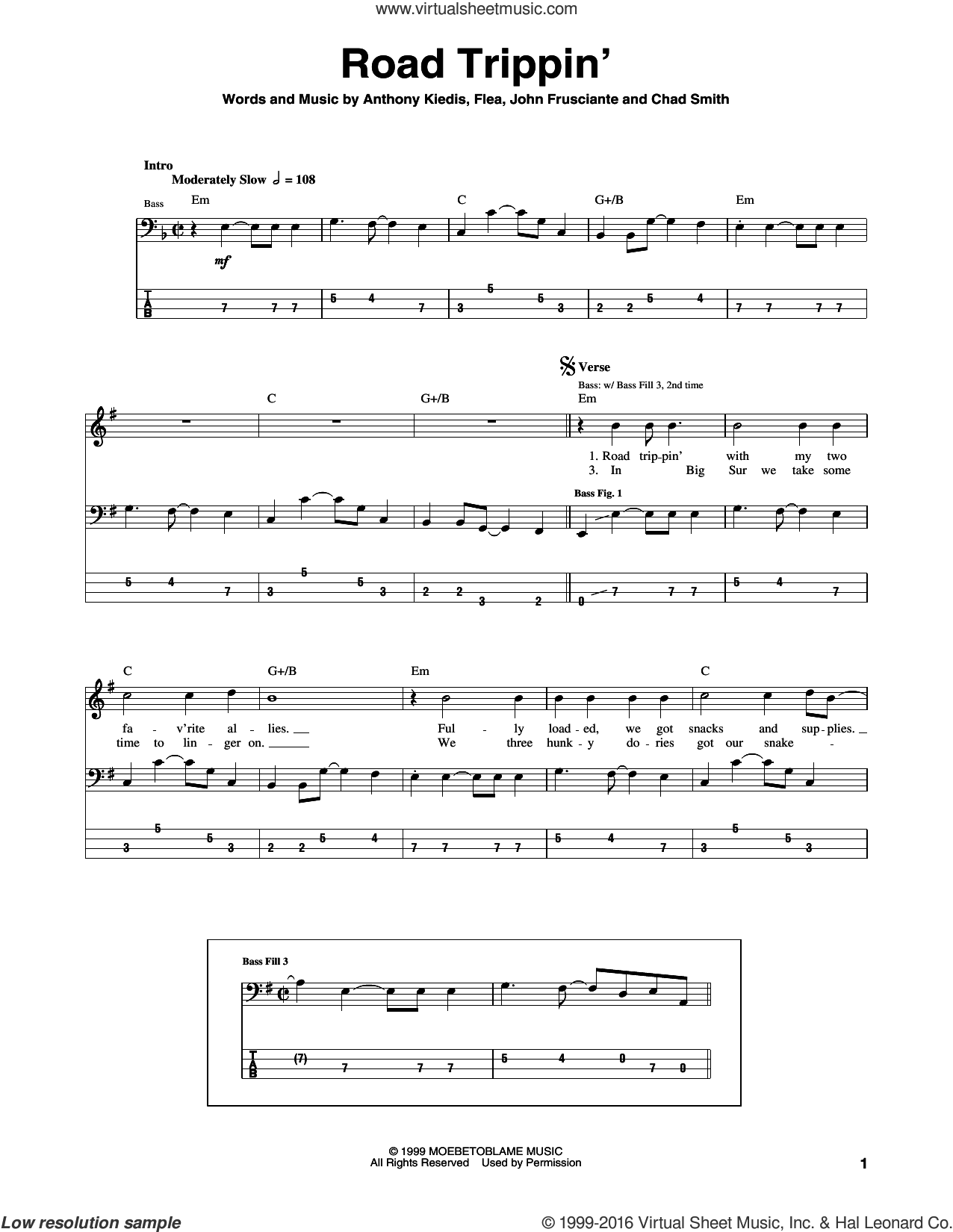 Road Trippin' sheet music for bass (tablature) (bass guitar) by Red Hot Chili Peppers, Anthony Kiedis, Chad Smith, Flea and John Frusciante, intermediate. Score Image Preview.