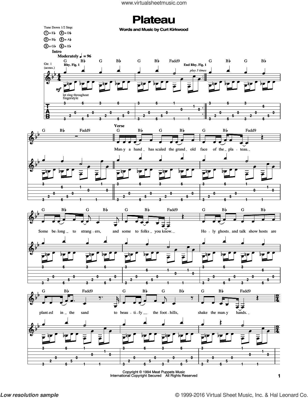 Plateau sheet music for guitar (tablature) by Nirvana, intermediate guitar (tablature). Score Image Preview.