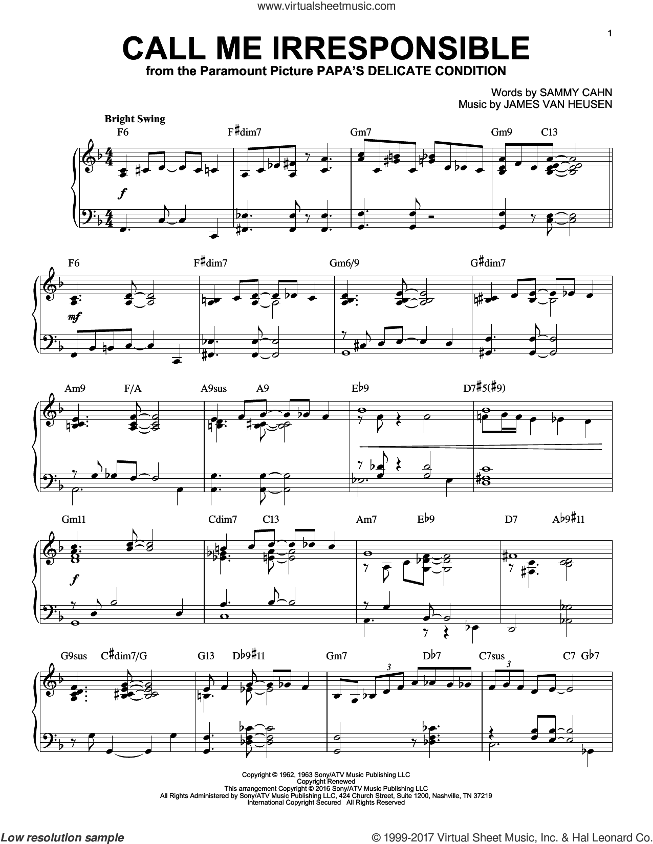 Call Me Irresponsible [Jazz version] (arr. Brent Edstrom) sheet music for piano solo by Sammy Cahn, Dinah Washington, Frank Sinatra, Jack Jones and Jimmy van Heusen, intermediate skill level