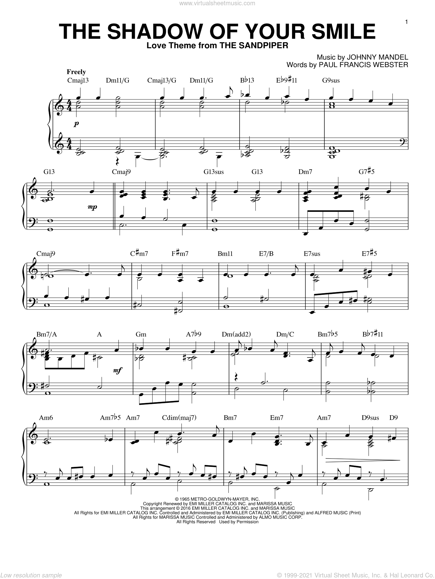 The Shadow Of Your Smile sheet music for piano solo by Paul Francis Webster and Johnny Mandel, intermediate skill level