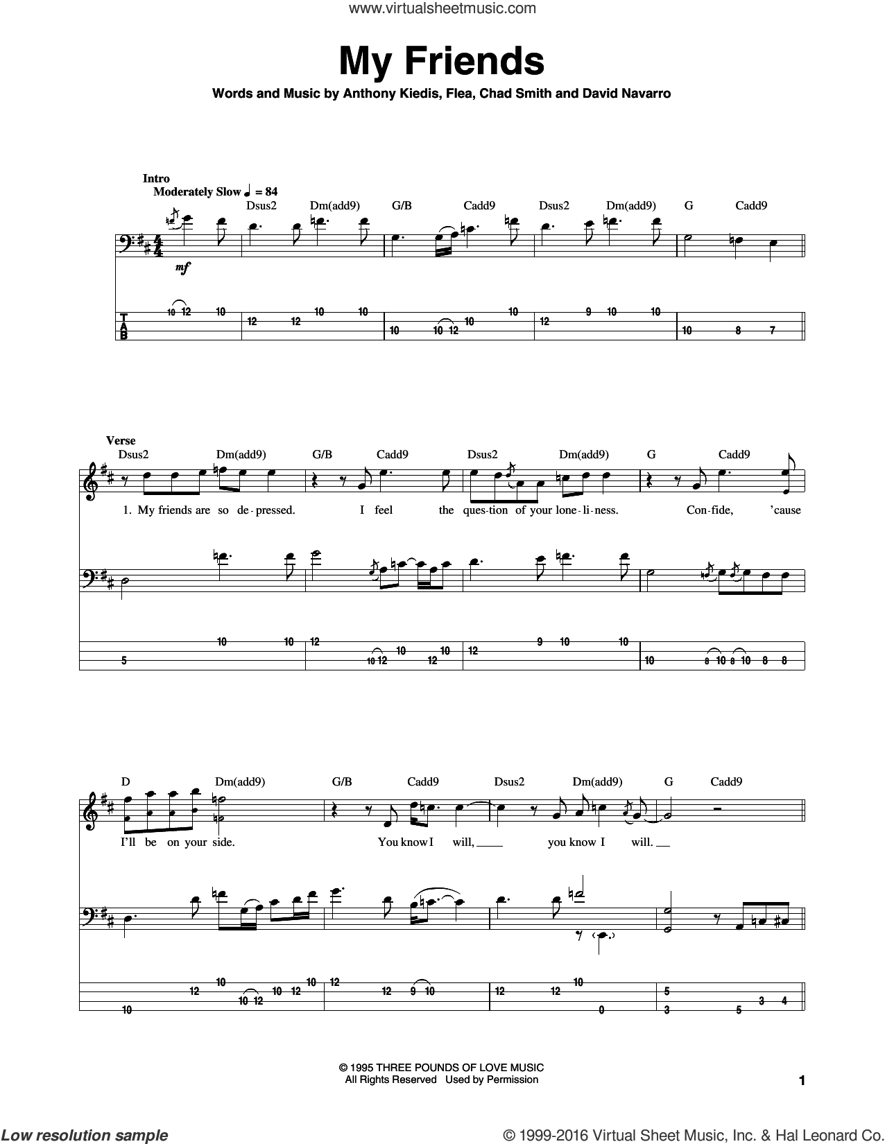 My Friends sheet music for bass (tablature) (bass guitar) by Flea, Red Hot Chili Peppers and David Navarro. Score Image Preview.
