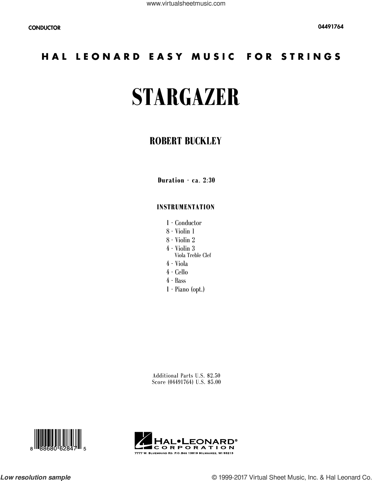 Stargazer (COMPLETE) sheet music for orchestra by Robert Buckley, intermediate. Score Image Preview.