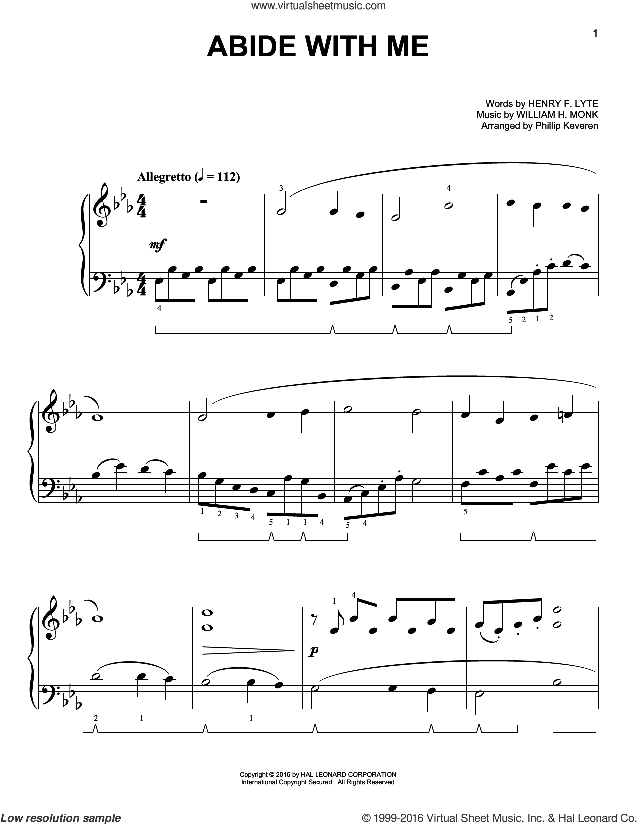 Abide With Me sheet music for piano solo by Henry F. Lyte, Phillip Keveren and William Henry Monk, easy skill level