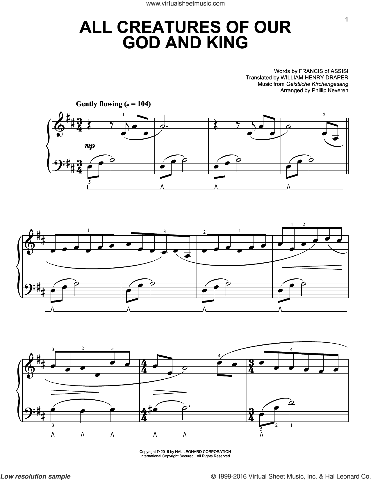 All Creatures Of Our God And King [Classical version] (arr. Phillip Keveren) sheet music for piano solo by Francis Of Assisi, Phillip Keveren, Geistliche Kirchengesang and William Henry Draper, easy skill level