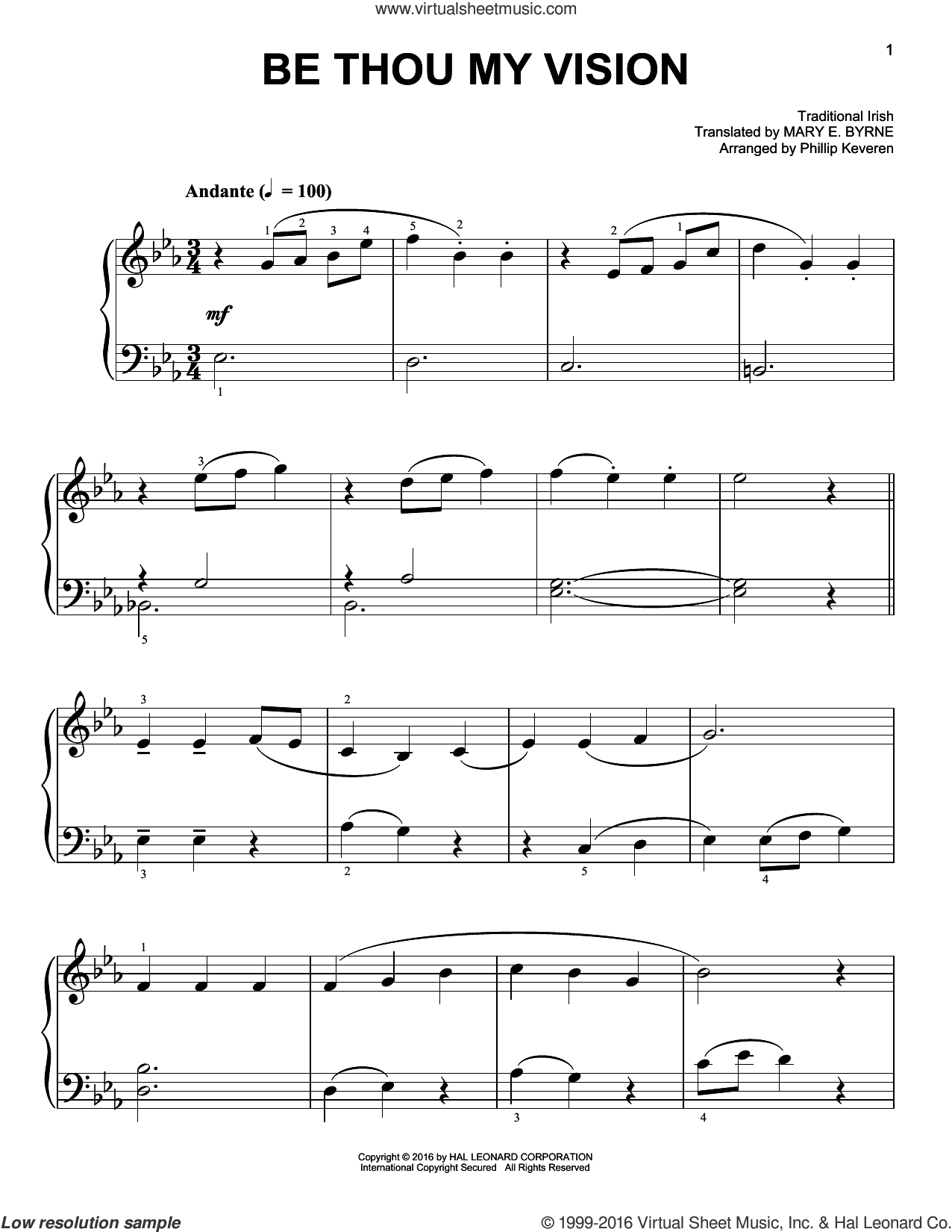 Be Thou My Vision sheet music for piano solo by Traditional Irish and Phillip Keveren, easy. Score Image Preview.