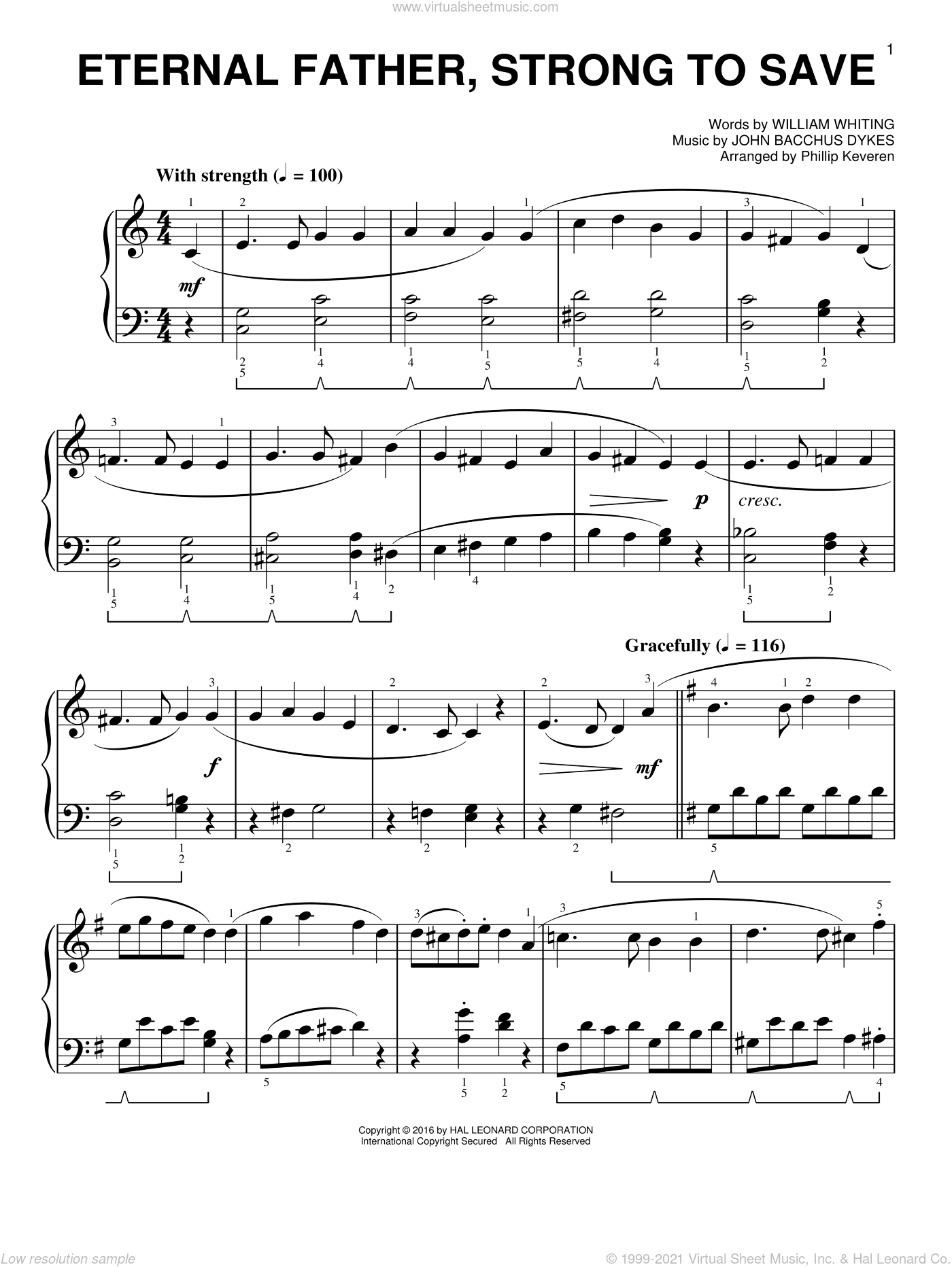 Eternal Father, Strong To Save [Classical version] (arr. Phillip Keveren) sheet music for piano solo by John Bacchus Dykes, Phillip Keveren and William Whiting, easy skill level