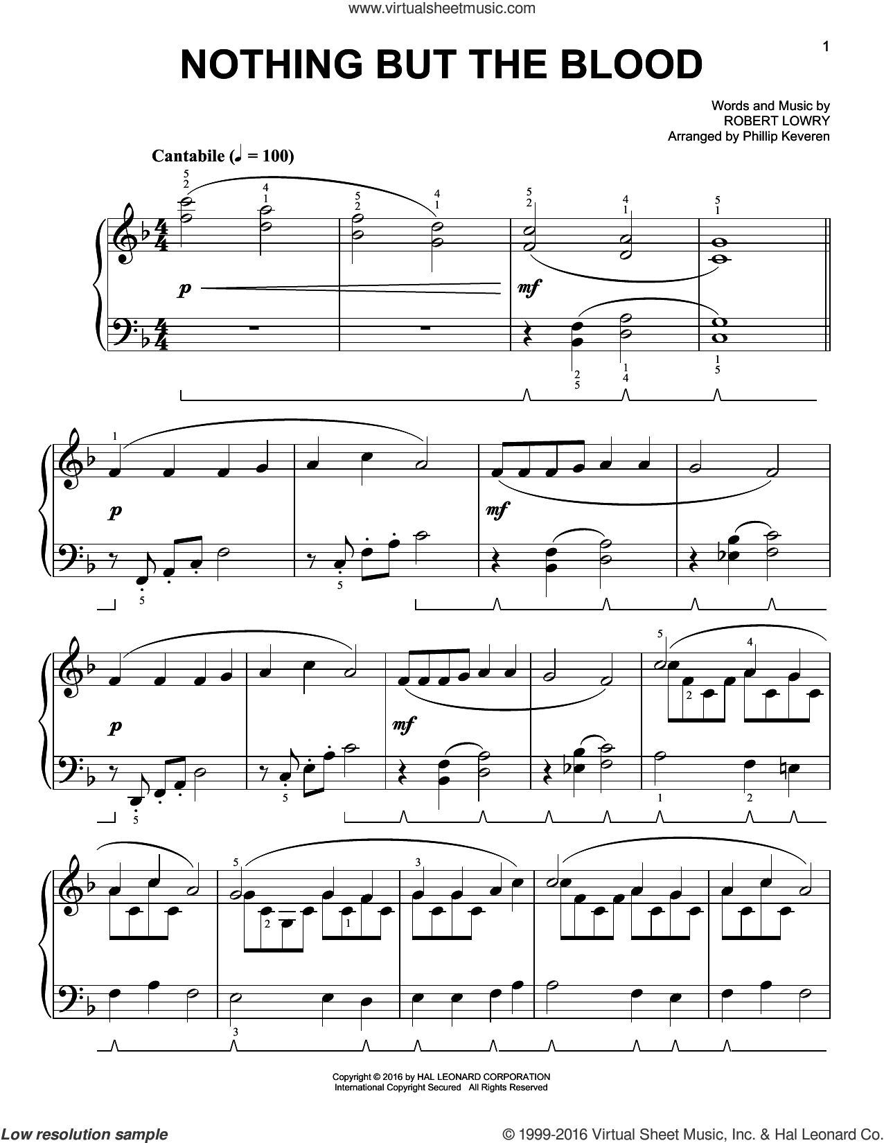 Nothing But The Blood sheet music for piano solo by Phillip Keveren and Robert Lowry. Score Image Preview.