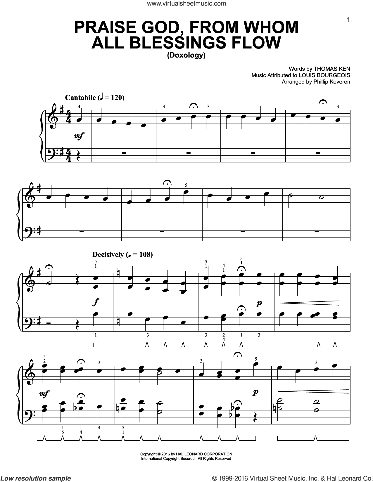 Praise God, From Whom All Blessings Flow [Classical version] (arr. Phillip Keveren) sheet music for piano solo by Thomas Ken, Phillip Keveren and Louis Bourgeois, easy skill level
