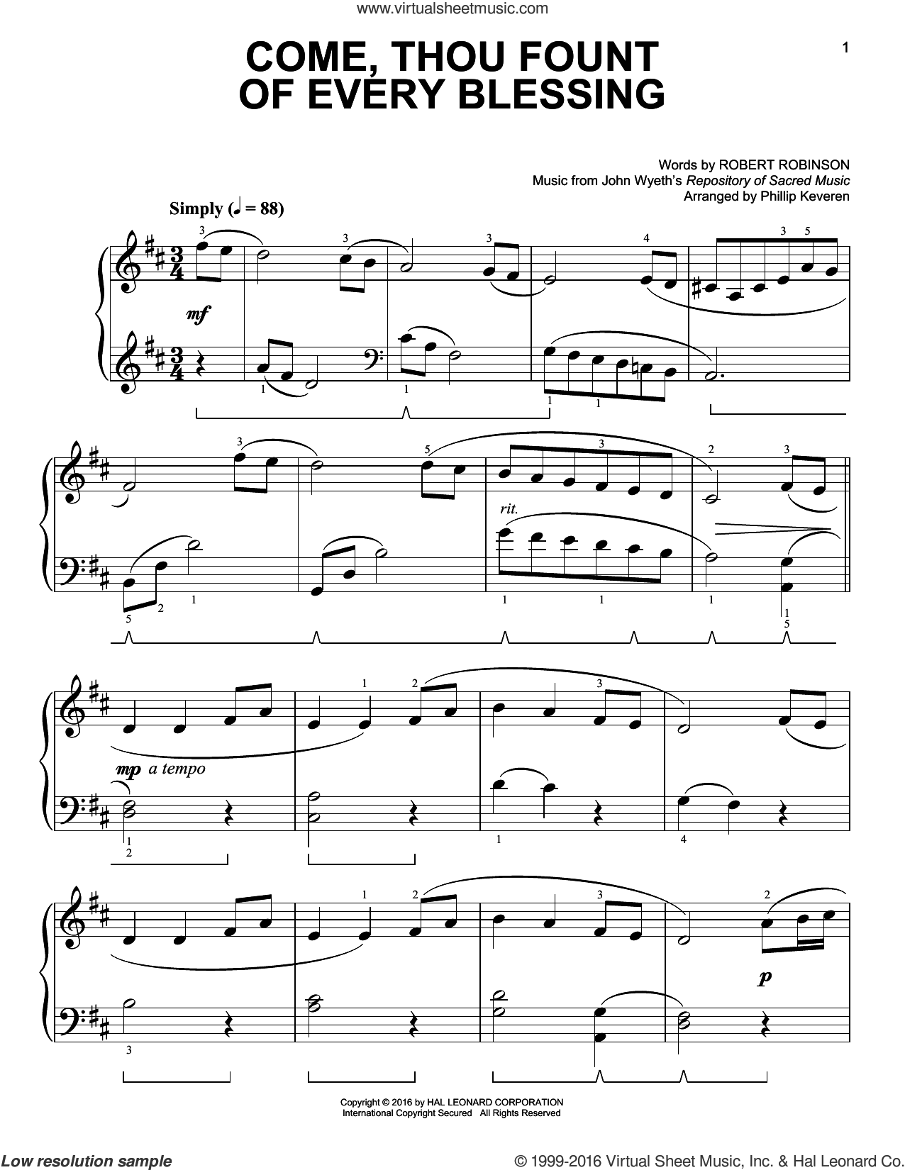 Come, Thou Fount Of Every Blessing sheet music for piano solo by Robert Robinson, Phillip Keveren and John Wyeth. Score Image Preview.