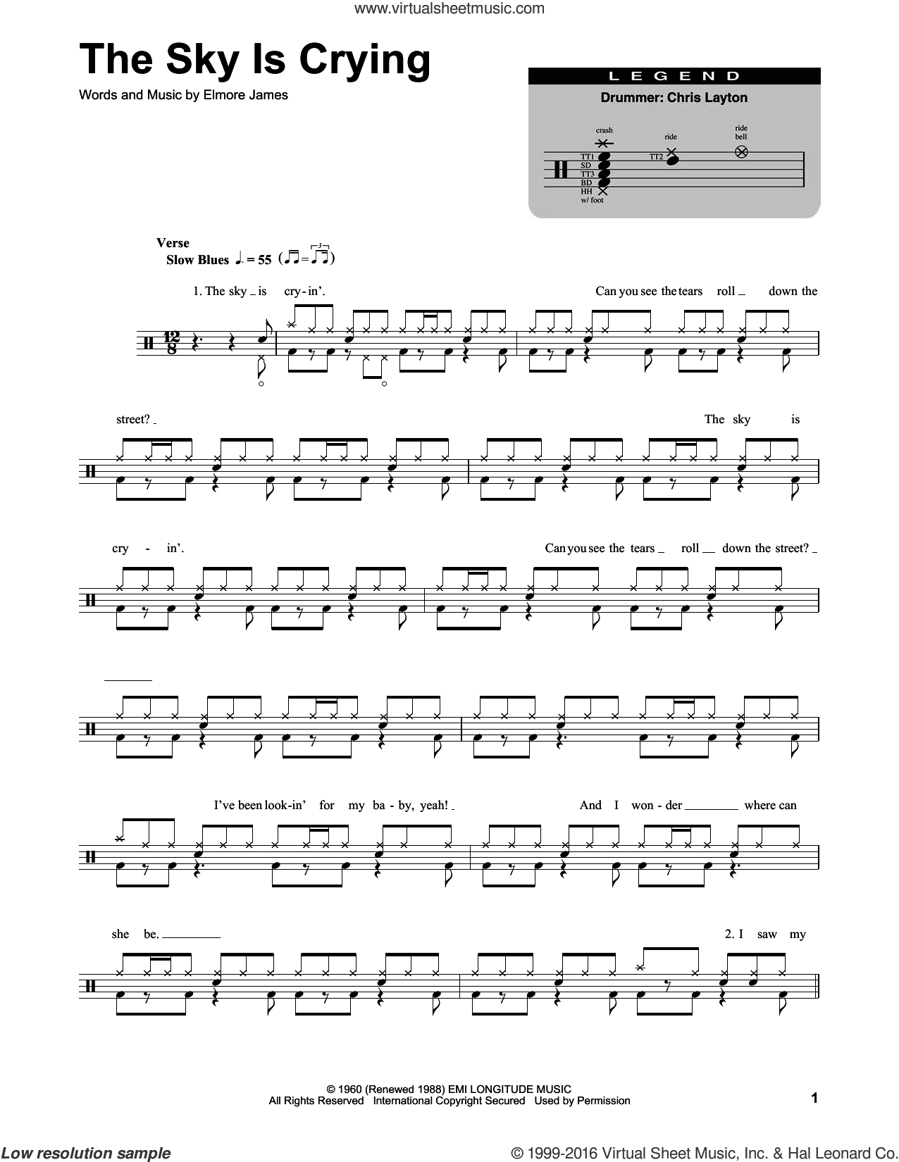 The Sky Is Crying sheet music for drums by Stevie Ray Vaughan, Eric Clapton and Elmore James, intermediate skill level