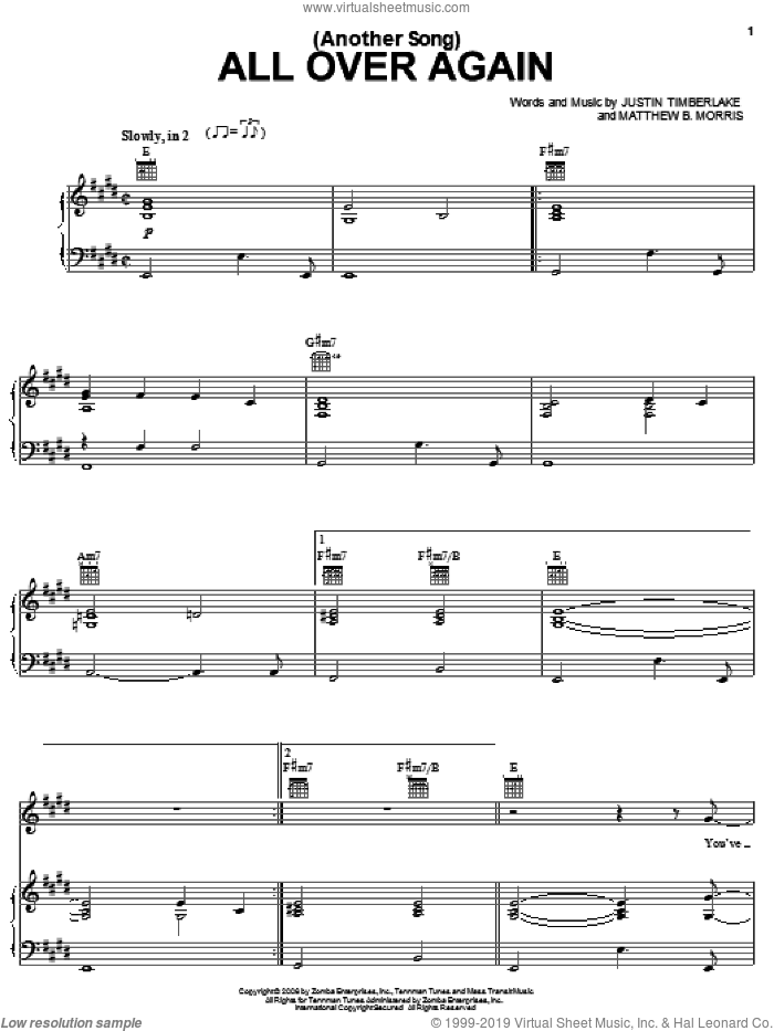 (Another Song) All Over Again sheet music for voice, piano or guitar by Matthew Morris