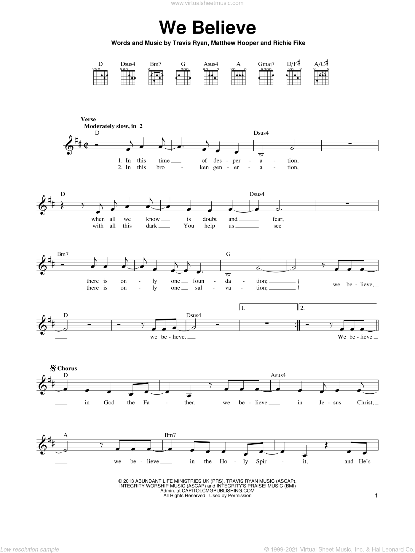 We Believe sheet music for guitar solo (chords) by Newsboys, Matthew Hooper, Richie Fike and Travis Ryan, easy guitar (chords)