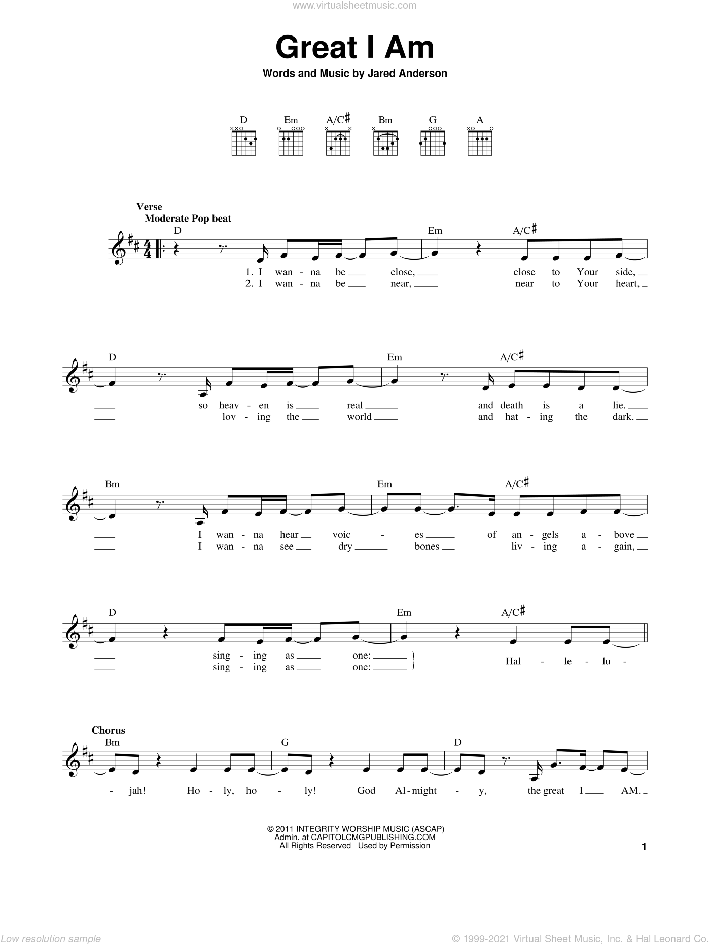Great I Am sheet music for guitar solo (chords) by Jared Anderson. Score Image Preview.