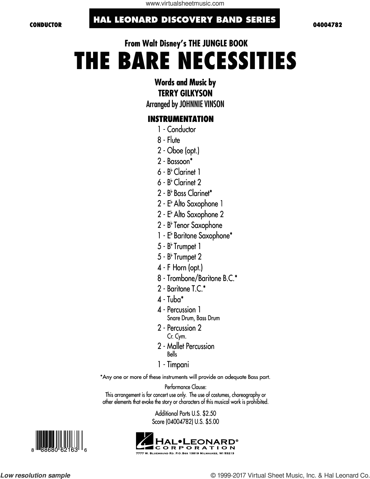The Bare Necessities (COMPLETE) sheet music for concert band by Johnnie Vinson and Terry Gilkyson, intermediate skill level